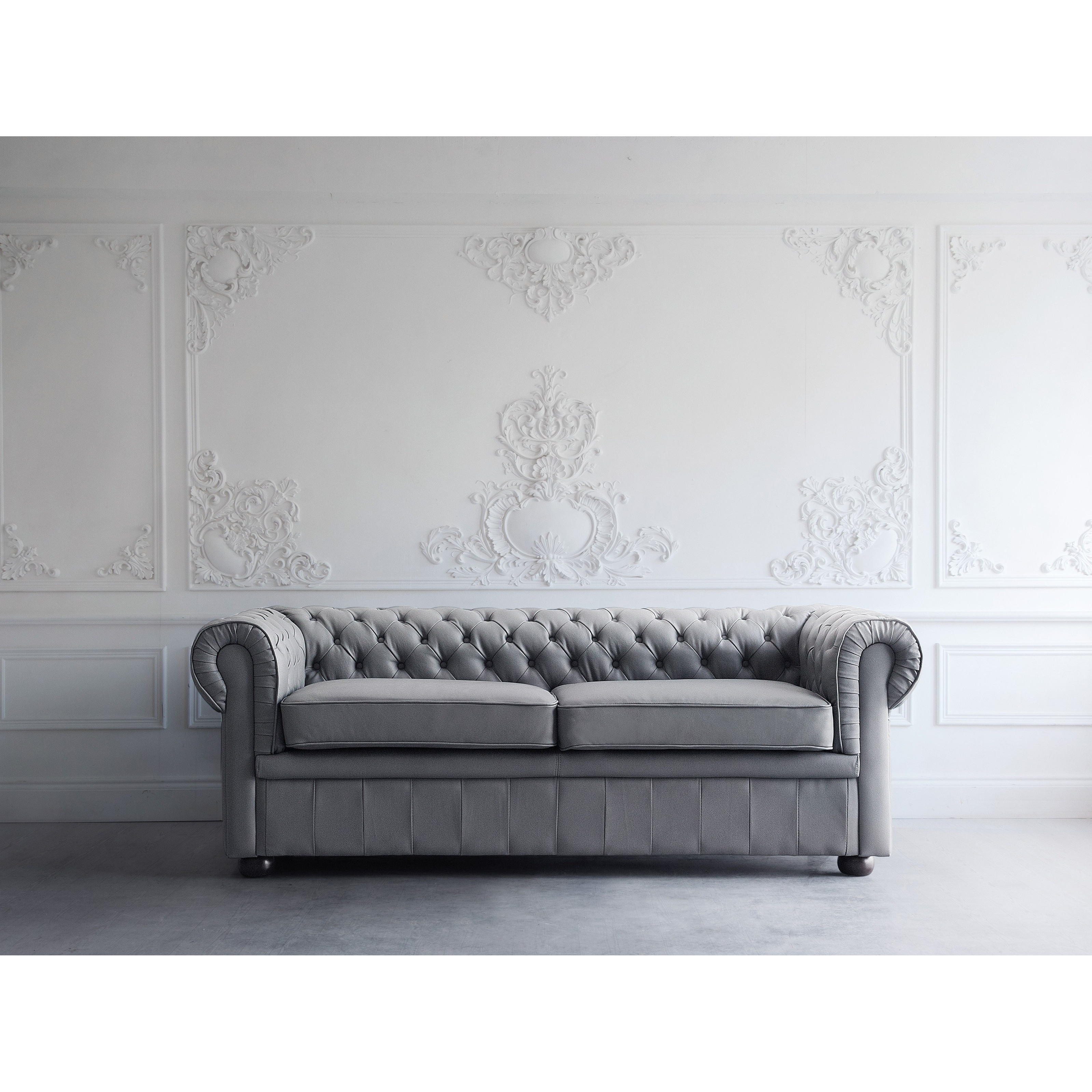 Shop Tufted Leather Sofa Gray Chesterfield Ships To Canada