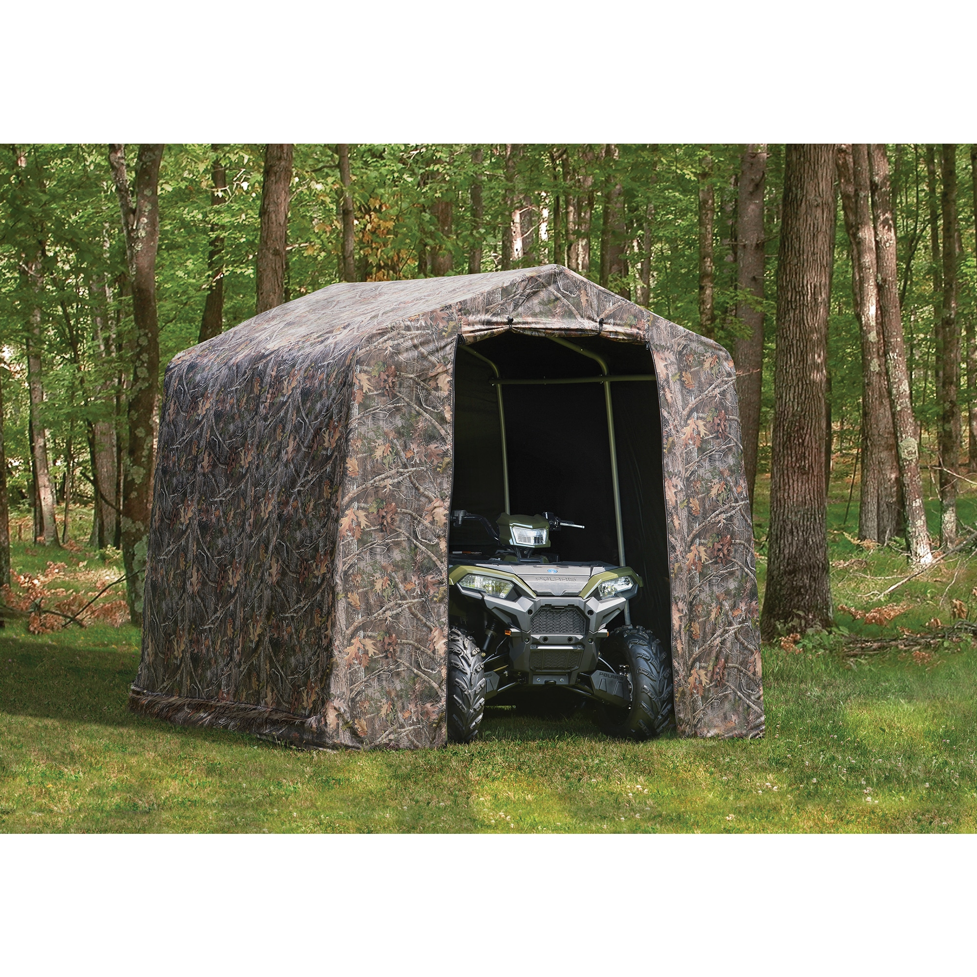 canopy motorcycle metal sheds outdoor shelterlogic sports gray ft itm x storage