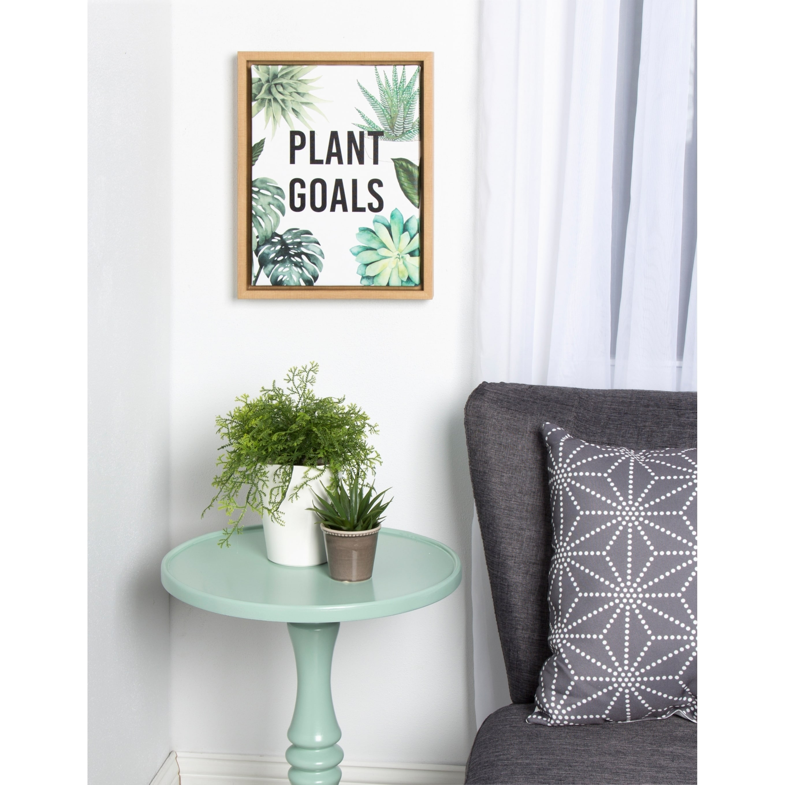 Kate and Laurel Sylvie PlantGoals 11x14 Natural Framed Canvas Wall ...