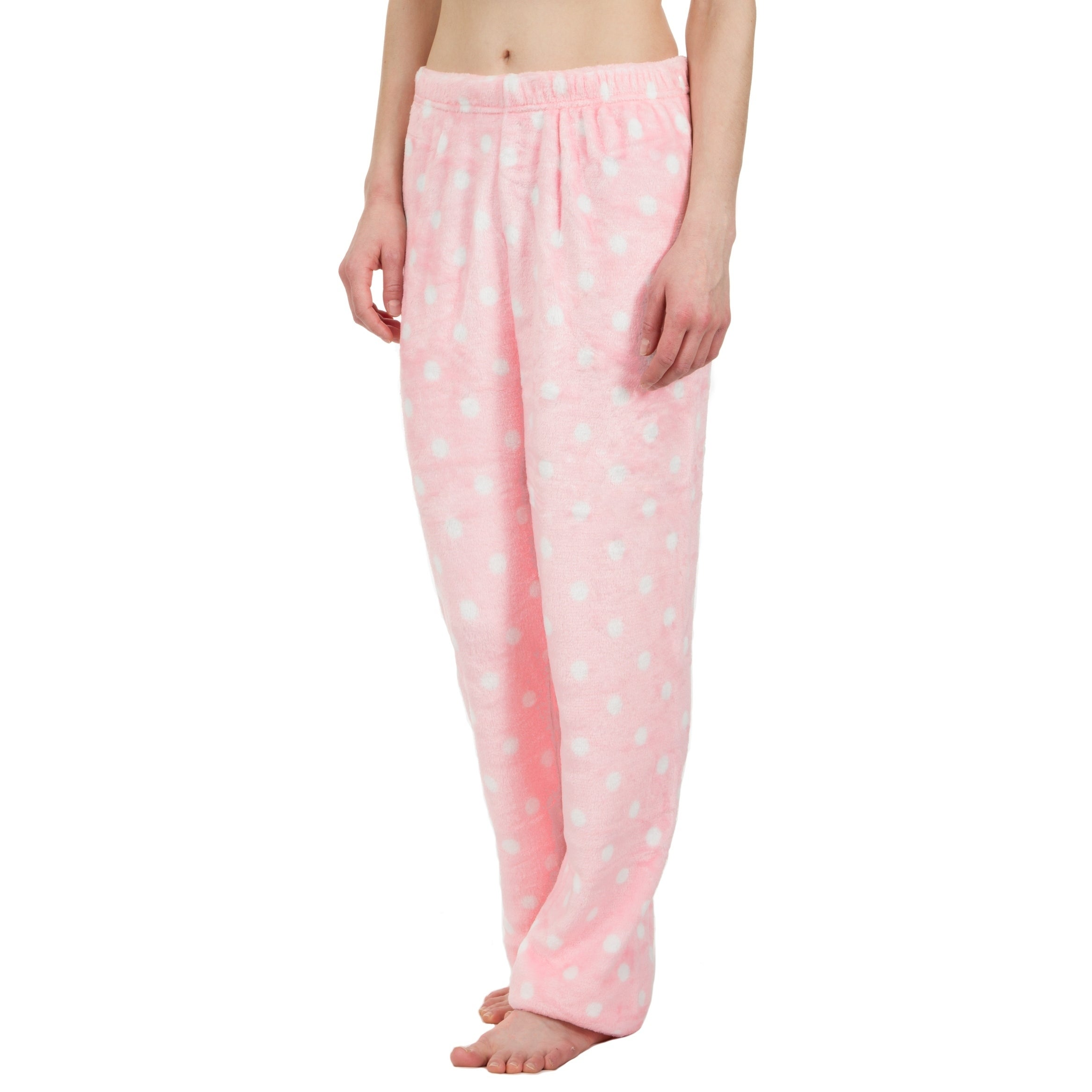 Shop Leisureland Ultra Soft Plush Fleece Pajama Pants Polka Dot