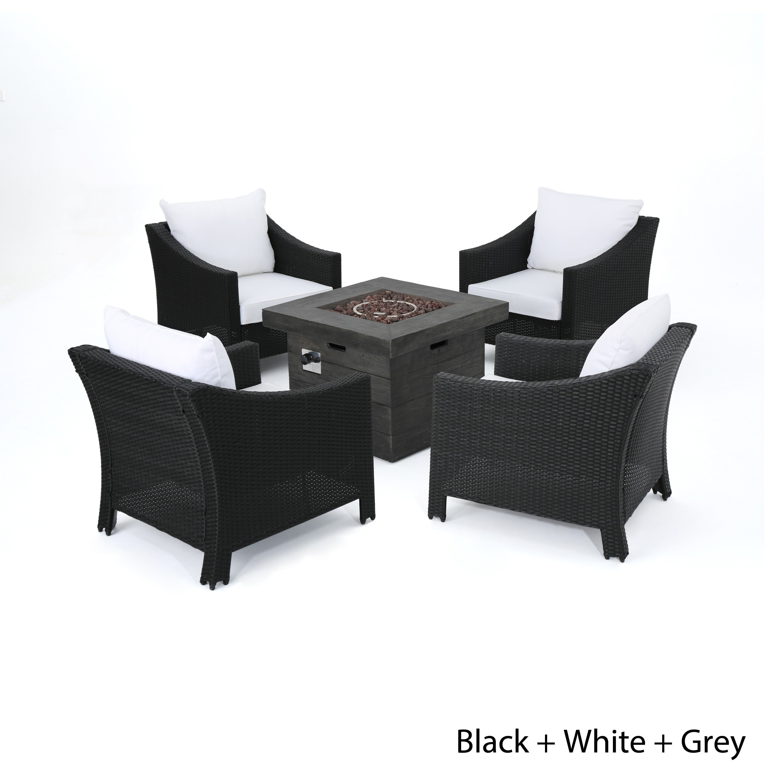 Antibes Outdoor 5-piece Wicker Club Chair Set with Square Firepit ...