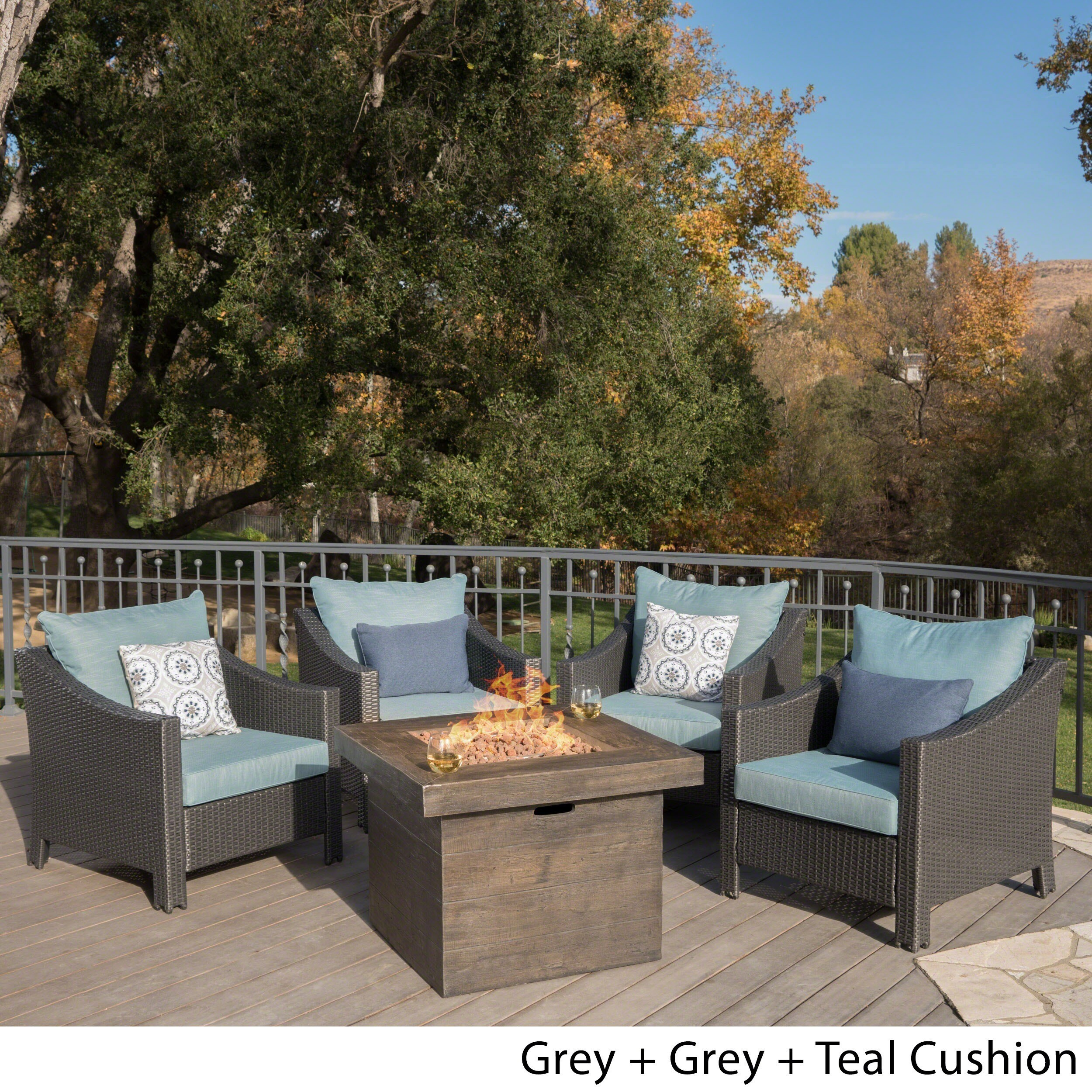 Shop Antibes Outdoor 5-piece Wicker Club Chair Set with Square ...