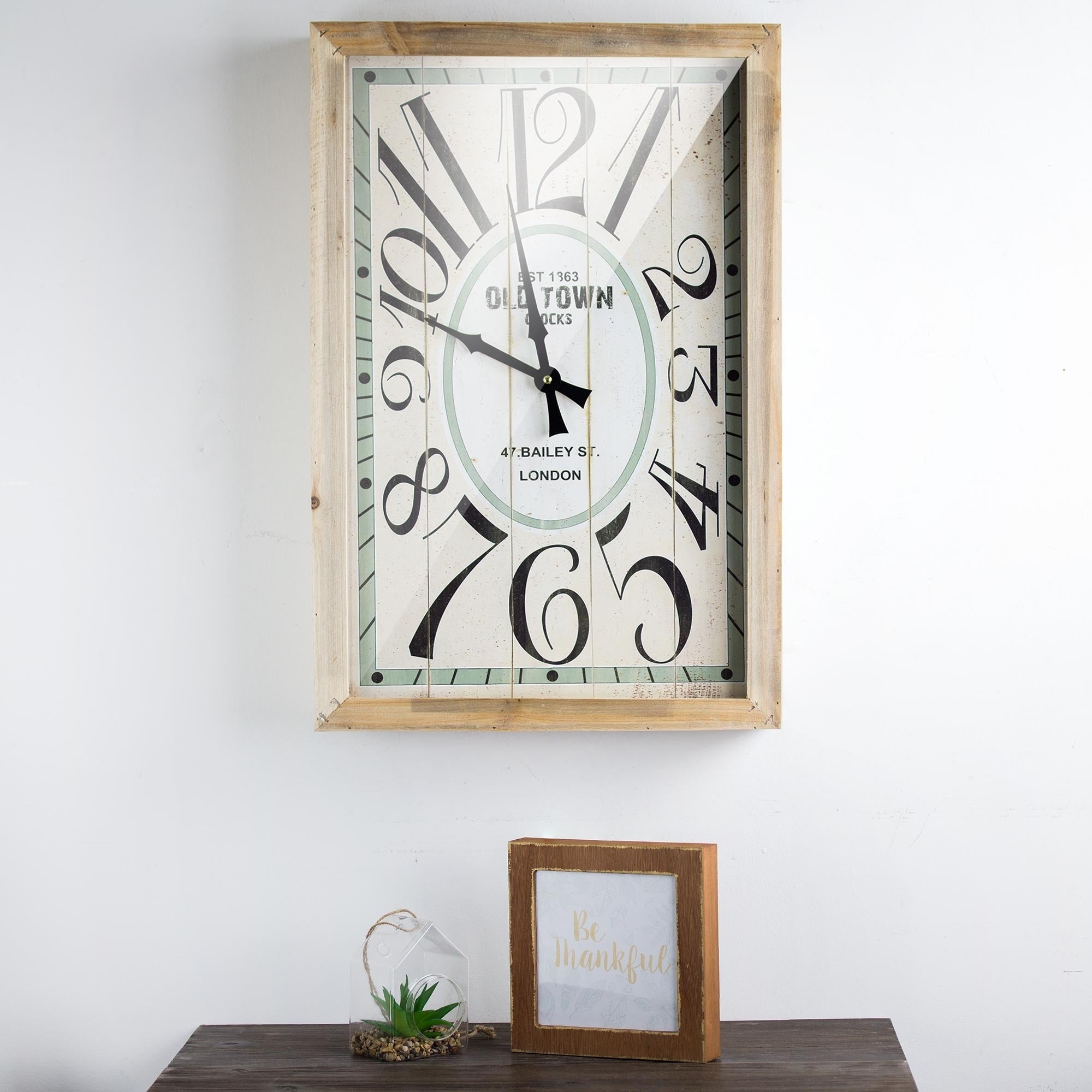 Old Town London Retro Rectangular Wood Wall Clock   Free Shipping Today    Overstock   24906073