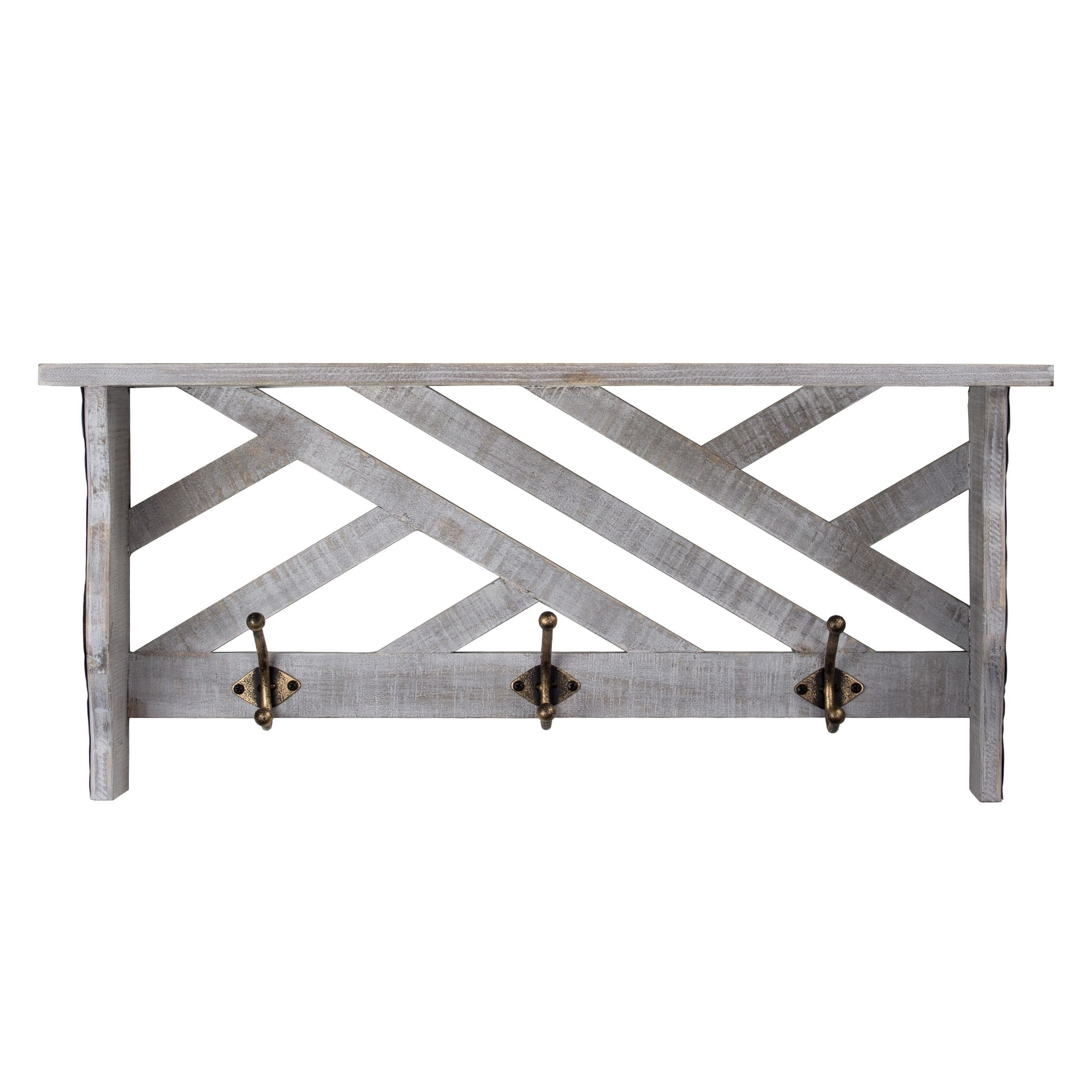 American Art Decor Rustic White Wall Mounted Coat Rack Wooden Shelf