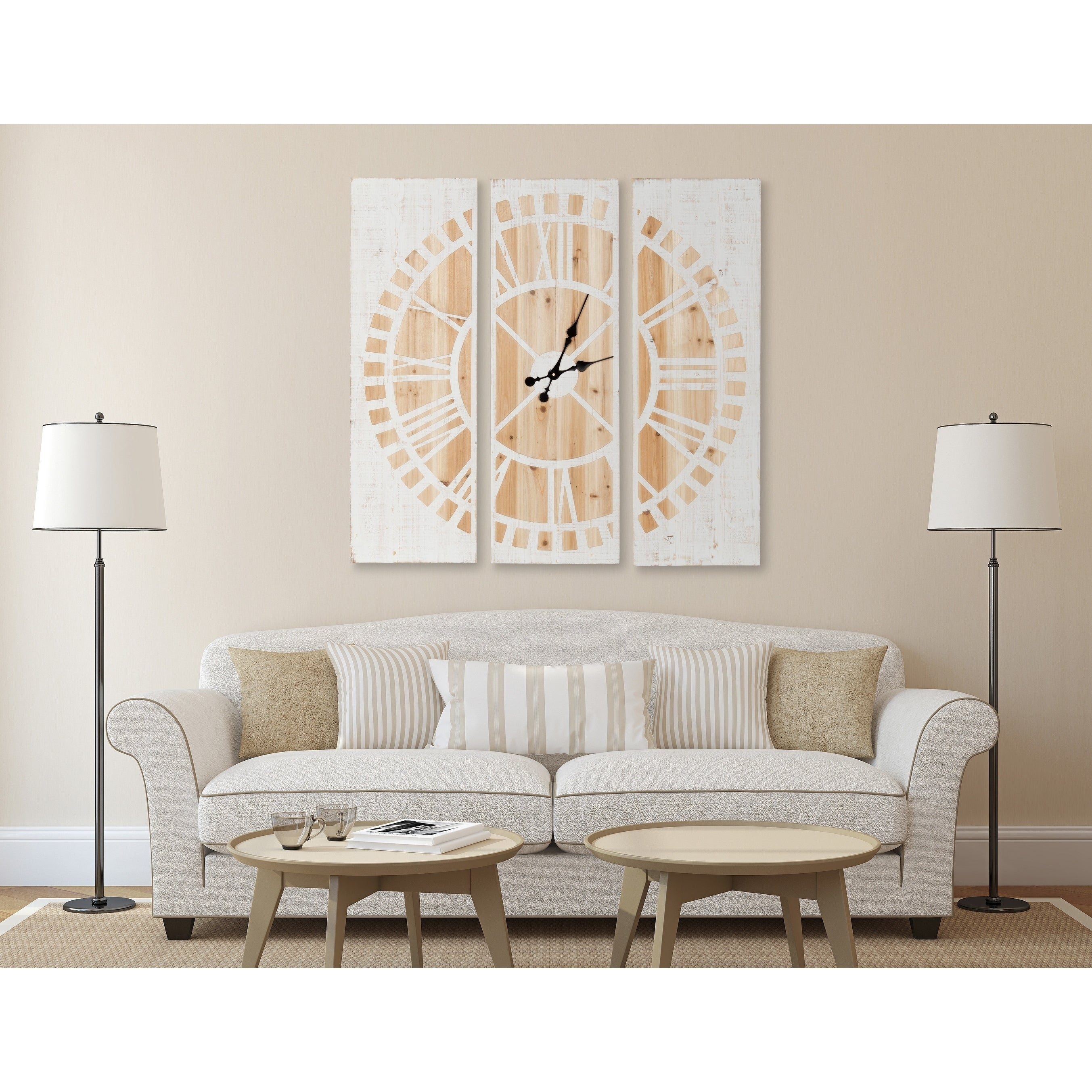 Shop Kate and Laurel Piedmont 3 Panel Wood Wall Clock, White and ...