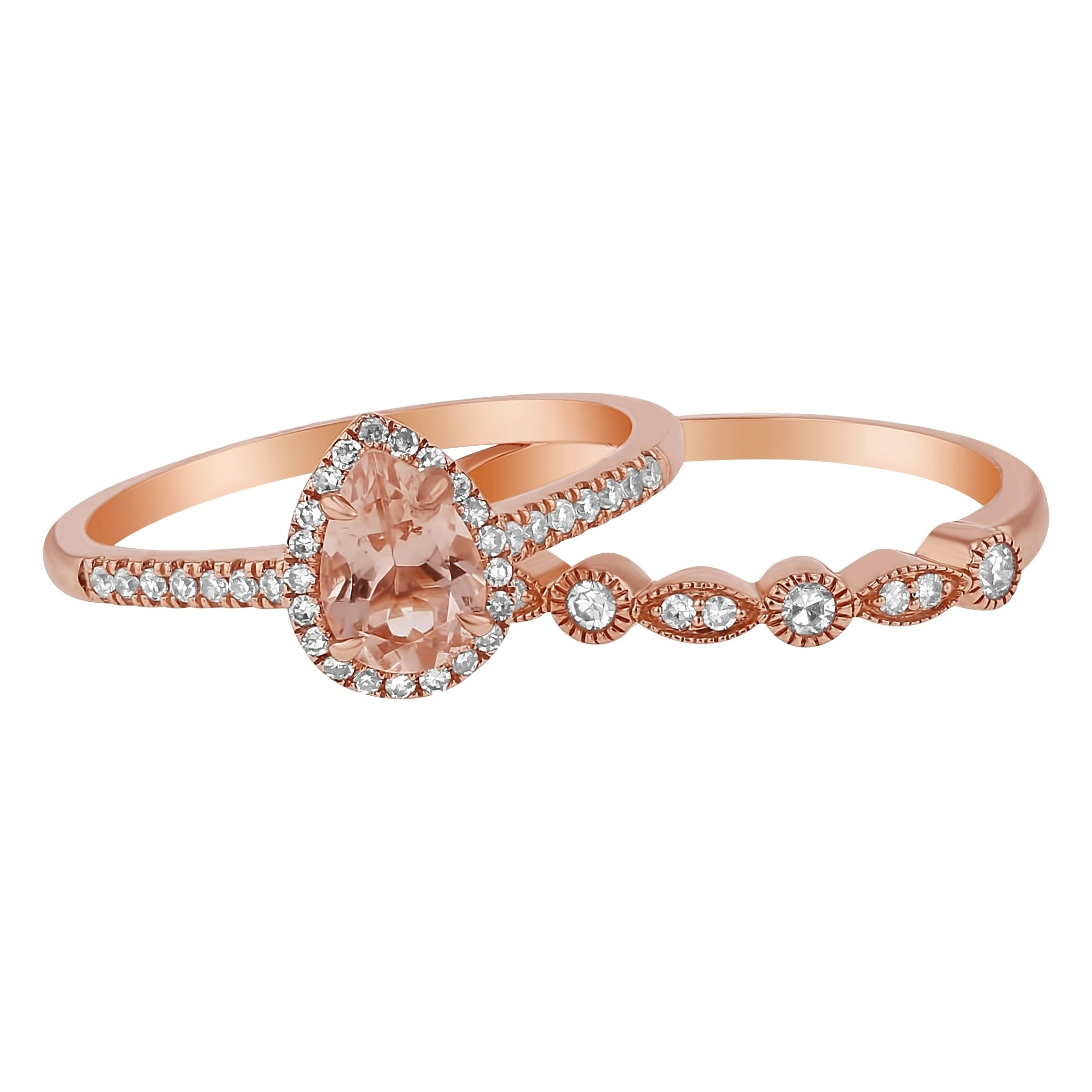 rose gold with hexagon product halo in morganite round band order matching for wedding engagement cohk ring custom diamond bands
