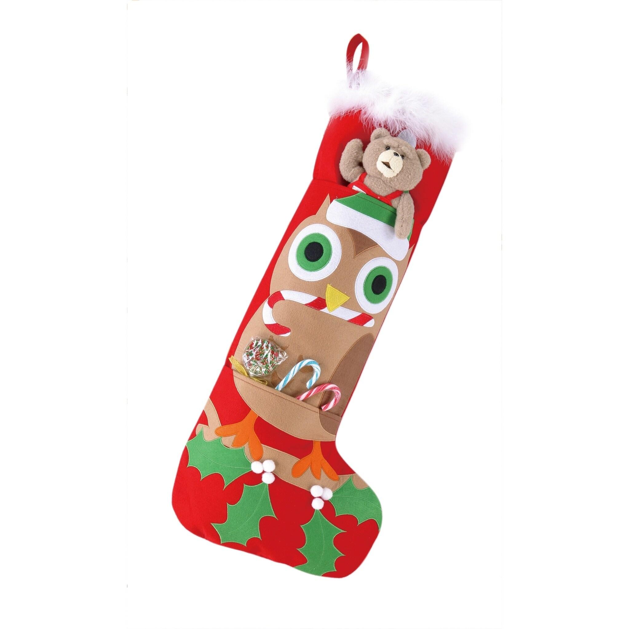 Jumbo Owl Felt Stocking With Pocket - Free Shipping On Orders Over ...