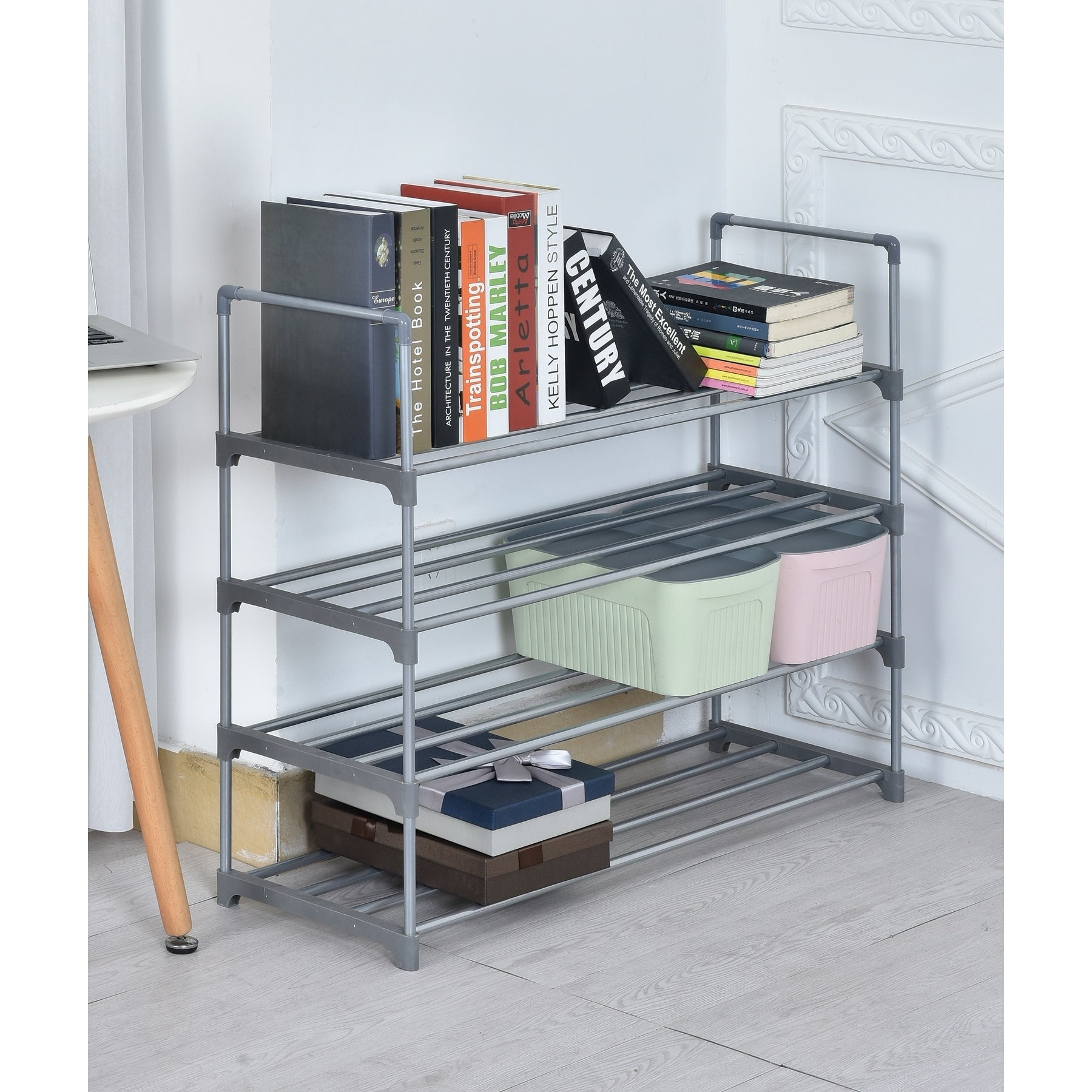 Shop Diamond Home 4-Tier Shoe Rack / Book Shelf - Free Shipping On ...