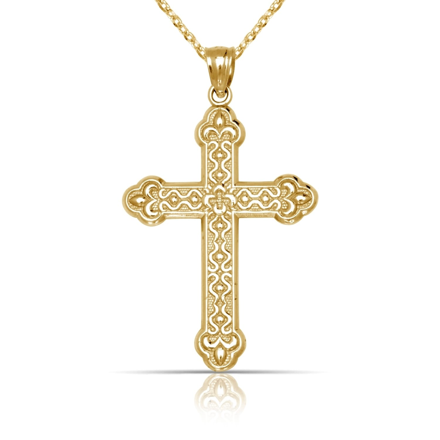 Solid 14K Yellow Gold Large Ornate Budded Cross Pendant Necklace ...