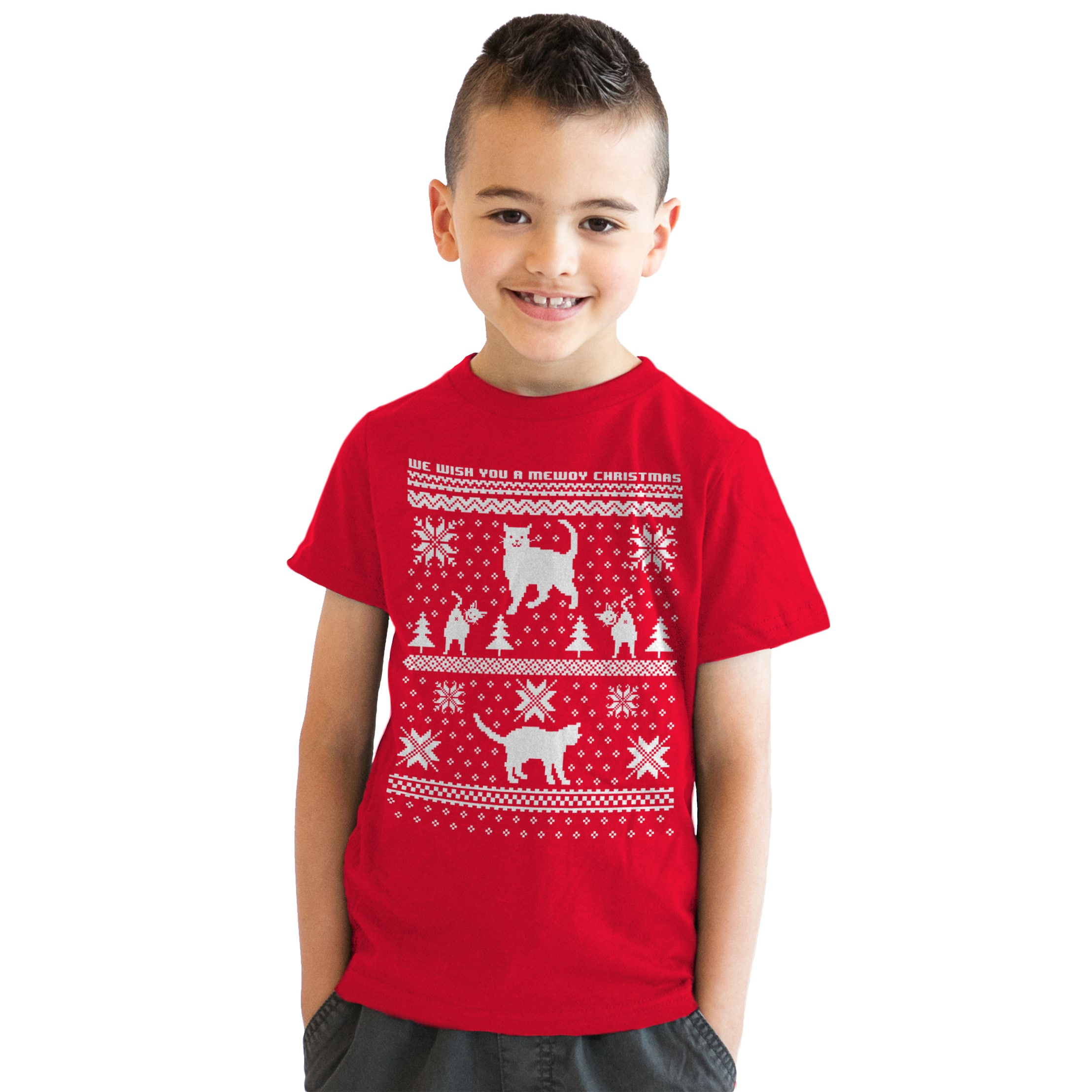 Shop Youth 8 Bit Cat Butt Ugly Christmas Sweater Computer Game T ...