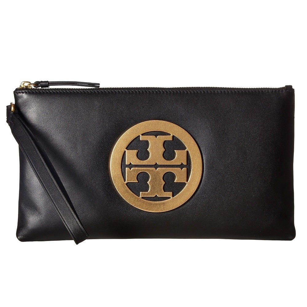 Tory burch charlie black leather wristlet clutch free shipping tory burch charlie black leather wristlet clutch free shipping today overstock 24911478 buycottarizona Images