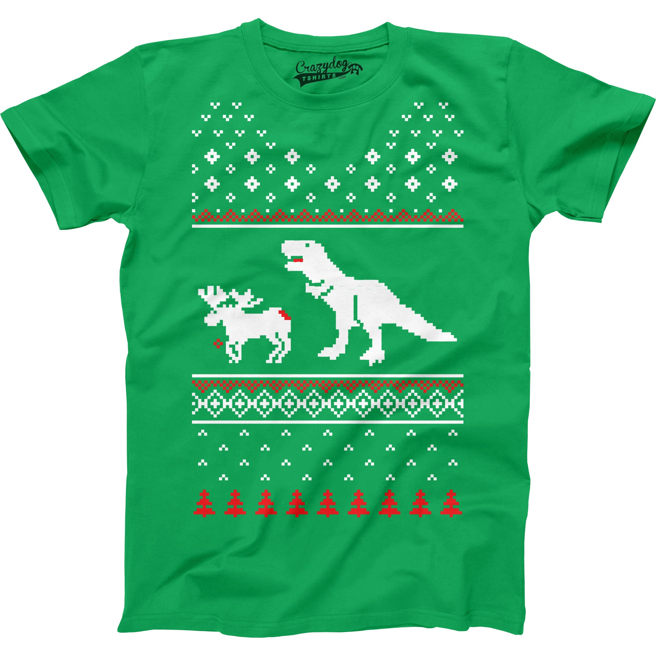 Shop Youth T-Rex Attack Ugly Sweater T Shirt Funny Christmas Dino ...