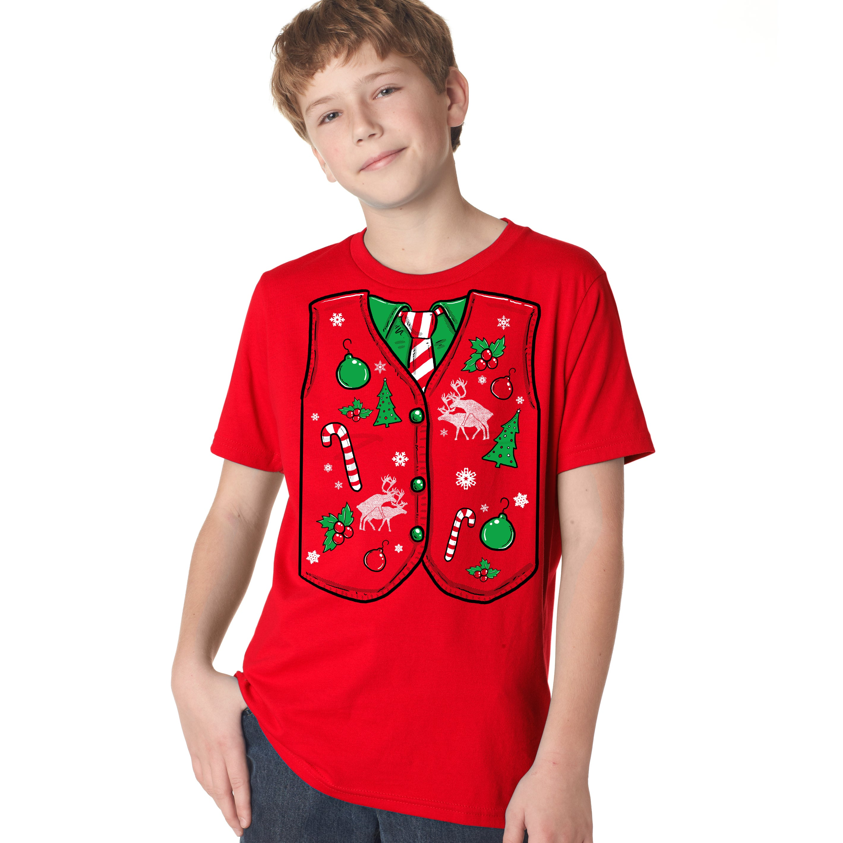 Shop Youth Ugly Christmas Sweater Vest T Shirt Funny Xmas Shirt for ...
