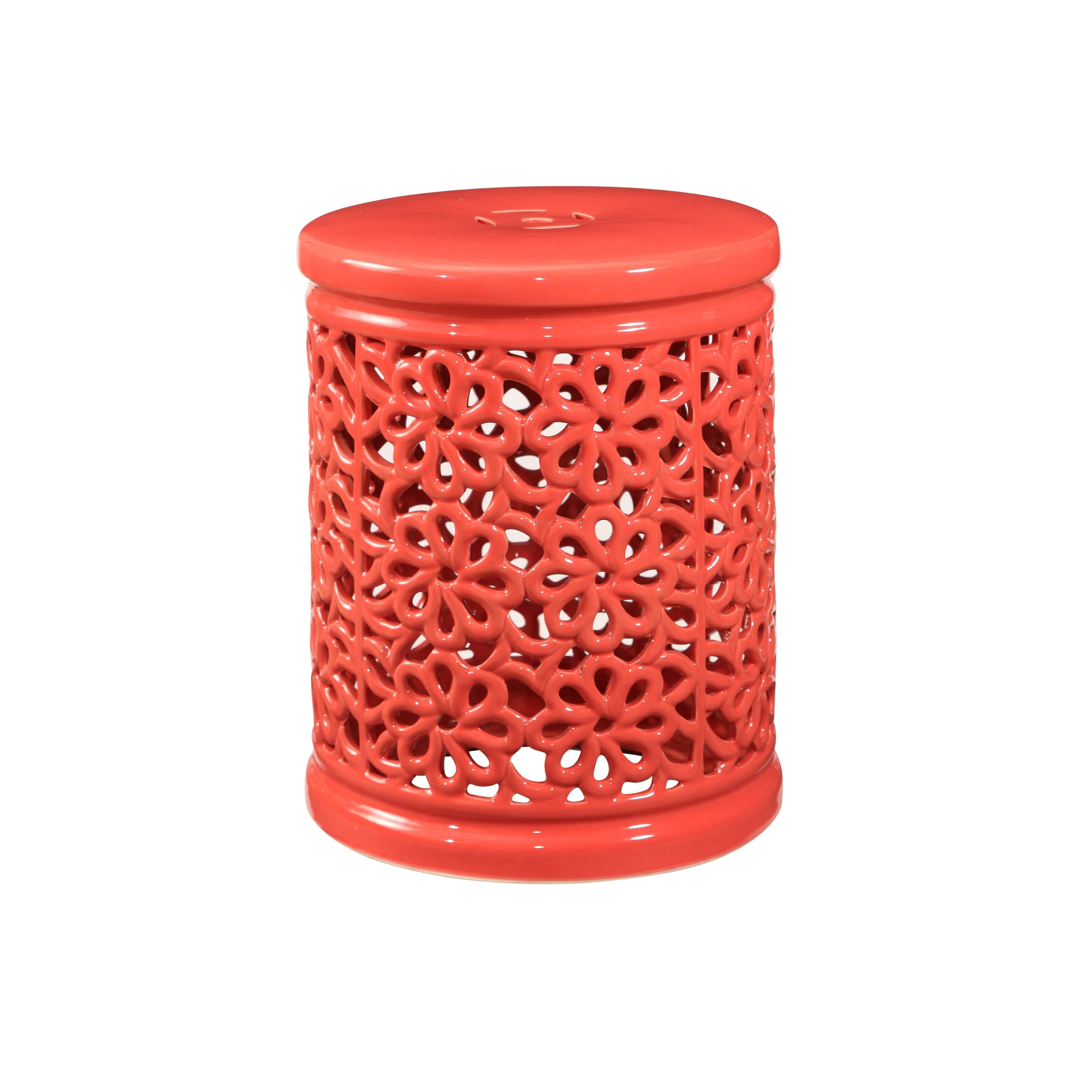Superbe Shop Abbyson Lacey Floral Cutout Ceramic Garden Stool, Coral   Free  Shipping Today   Overstock.com   18850667