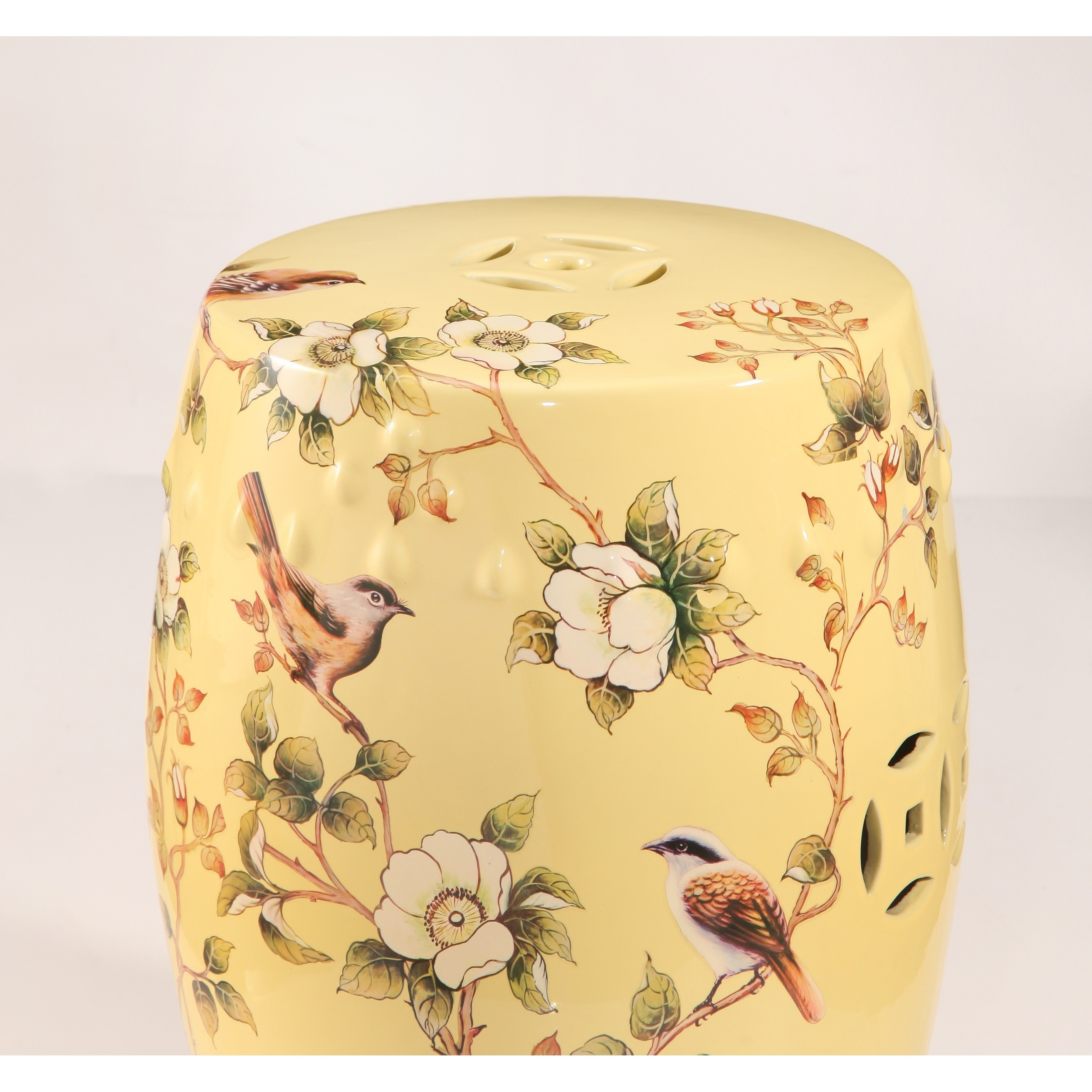 Shop Abbyson Sumida Hand Painted Floral Ceramic Garden Stool, Pale Yellow    Free Shipping Today   Overstock.com   18850727