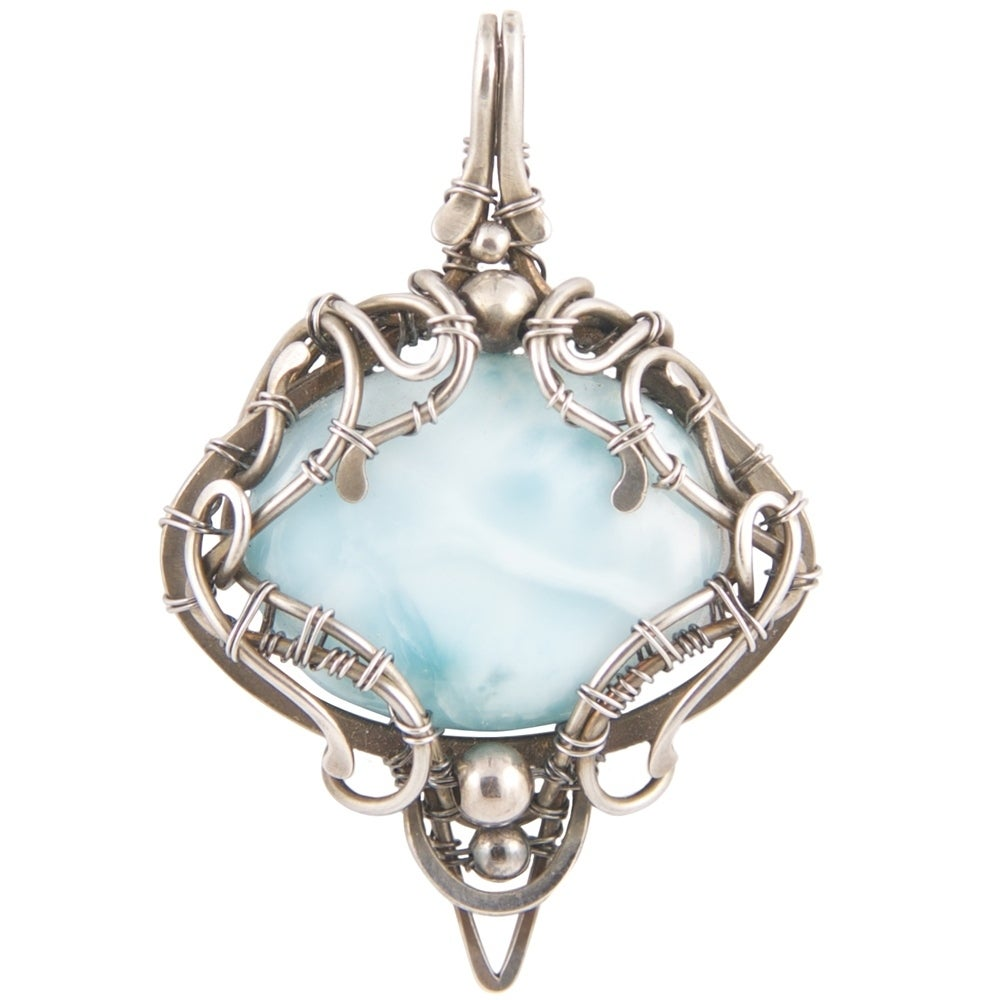 Shop Handmade - Healing Stones for You Larimar Wire Wrapped Pendant ...