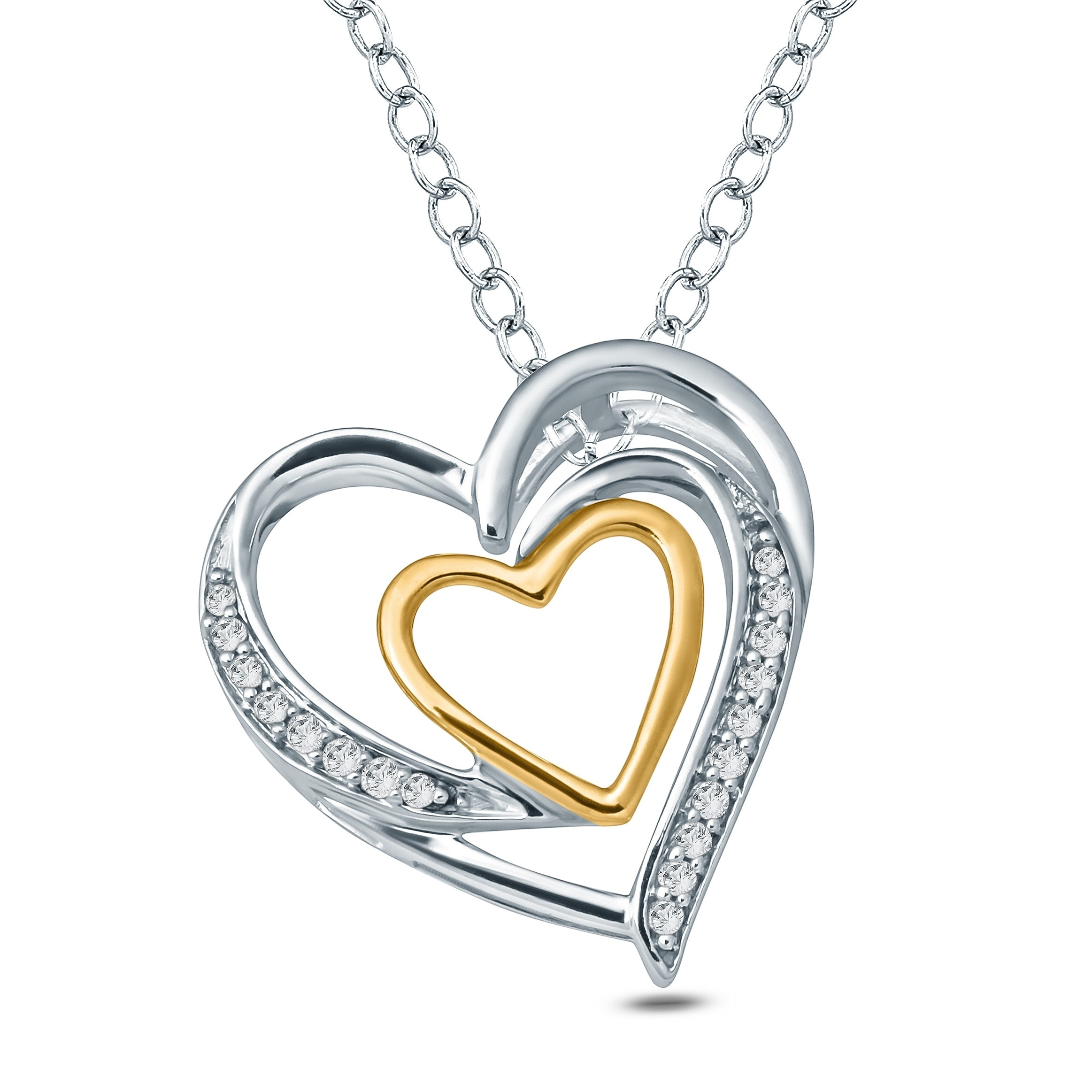 50f6d5fe6f7be6 Cali Trove 1/20 Ct Round Diamond Accent Double Heart Pendant In Sterling  Silver & 10K Yellow Gold. - White