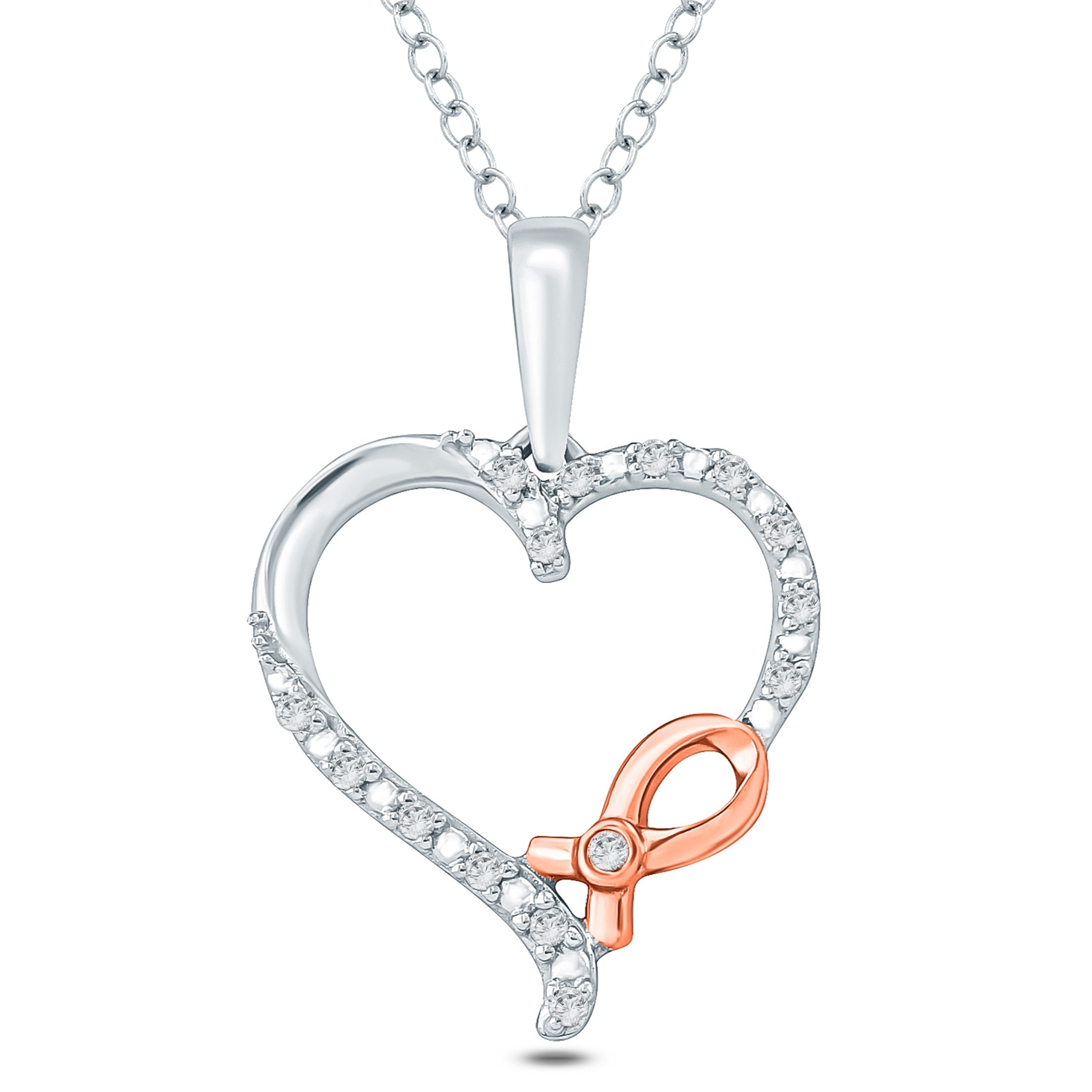 Sterling Silver Diamond Silver Ribbon and Heart Pendant Necklace 0.08 cttw, H-I Color, I1-I2 Clarity