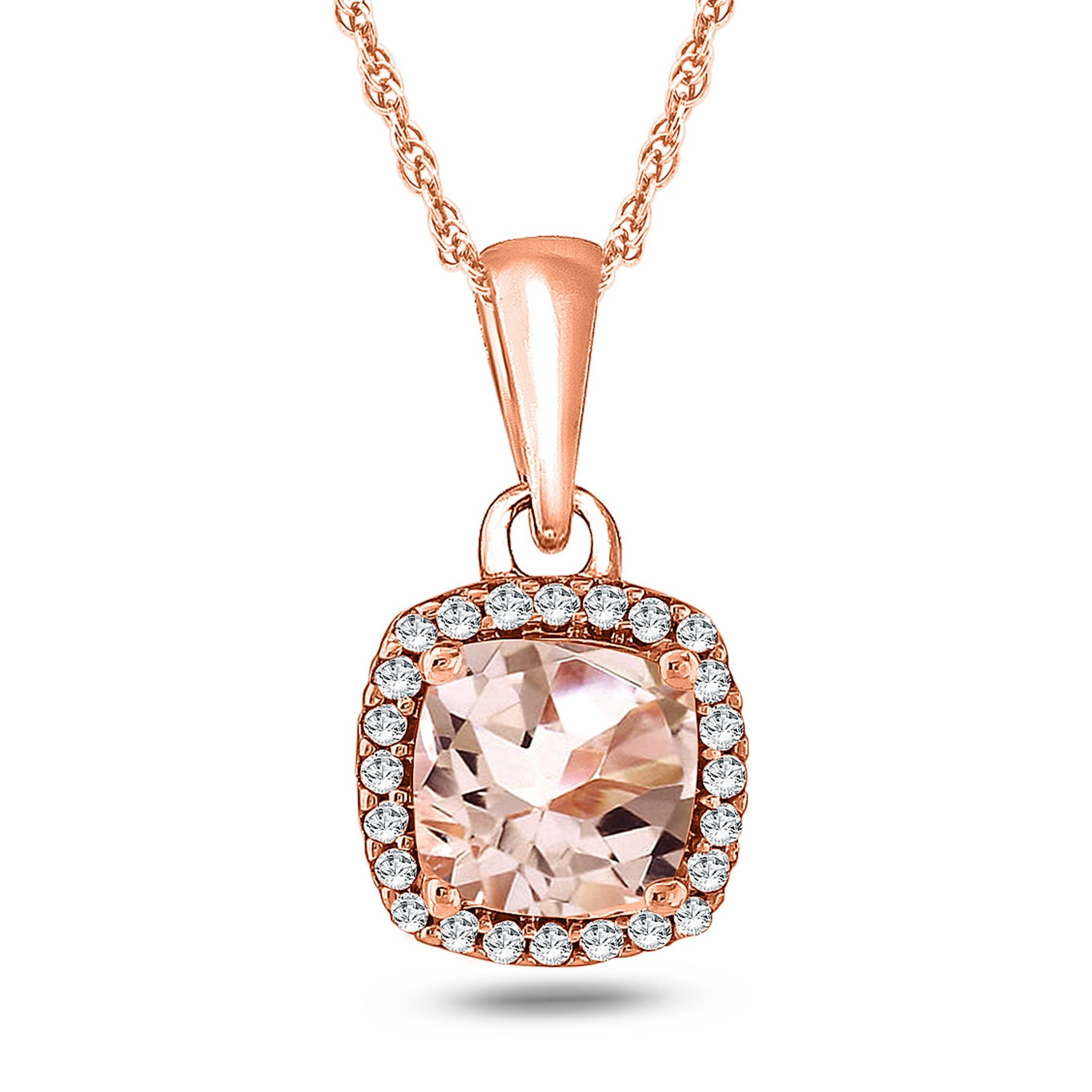 pendant oval necklace morganite tw with rose gold diamonds in