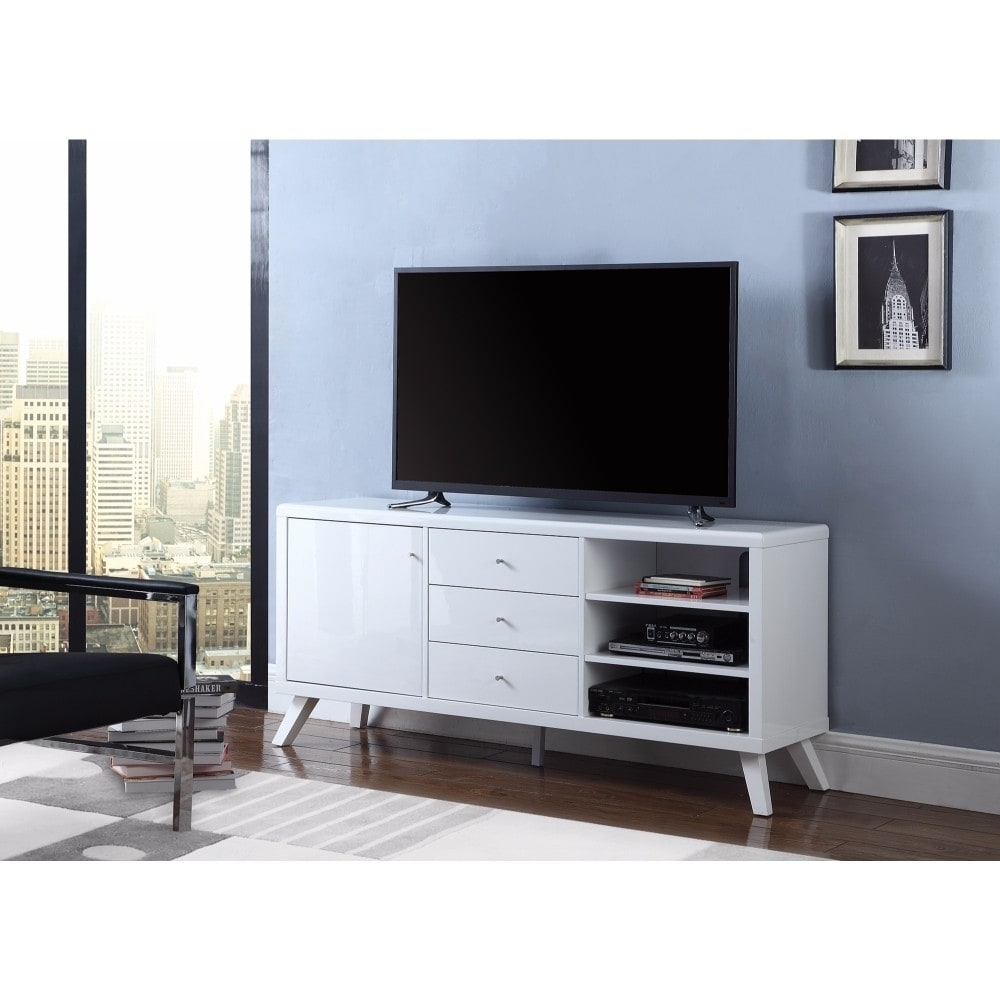 Magical glossy white tv console With storage