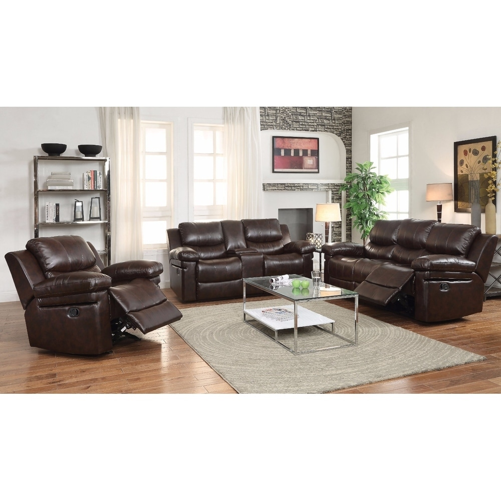 Shop smart looking sofa motion dark brown leather aired free shipping today overstock 18854689