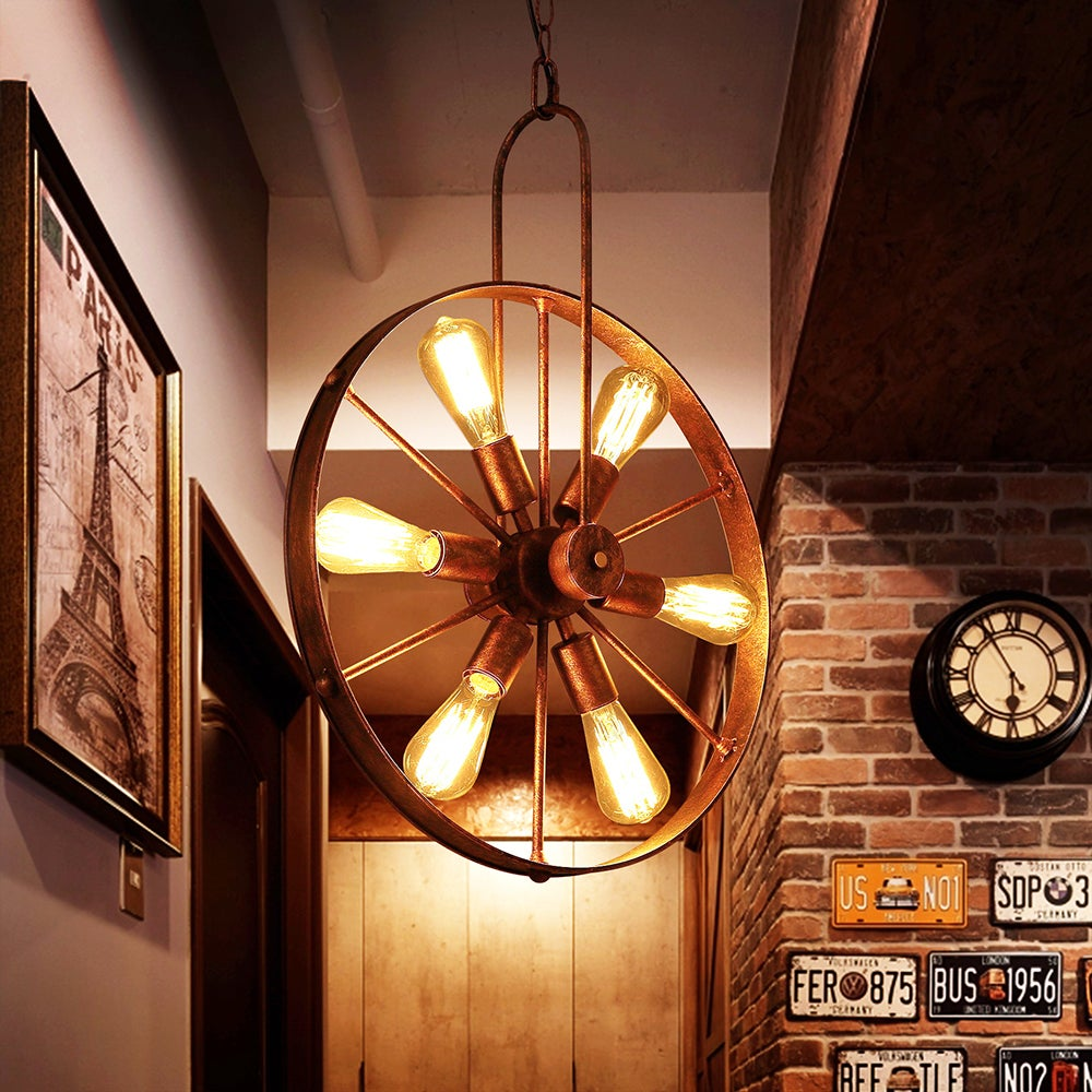 Saralin 6-Light Rustic Wagon Wheel Chandelier - Free Shipping Today -  Overstock.com - 24938422