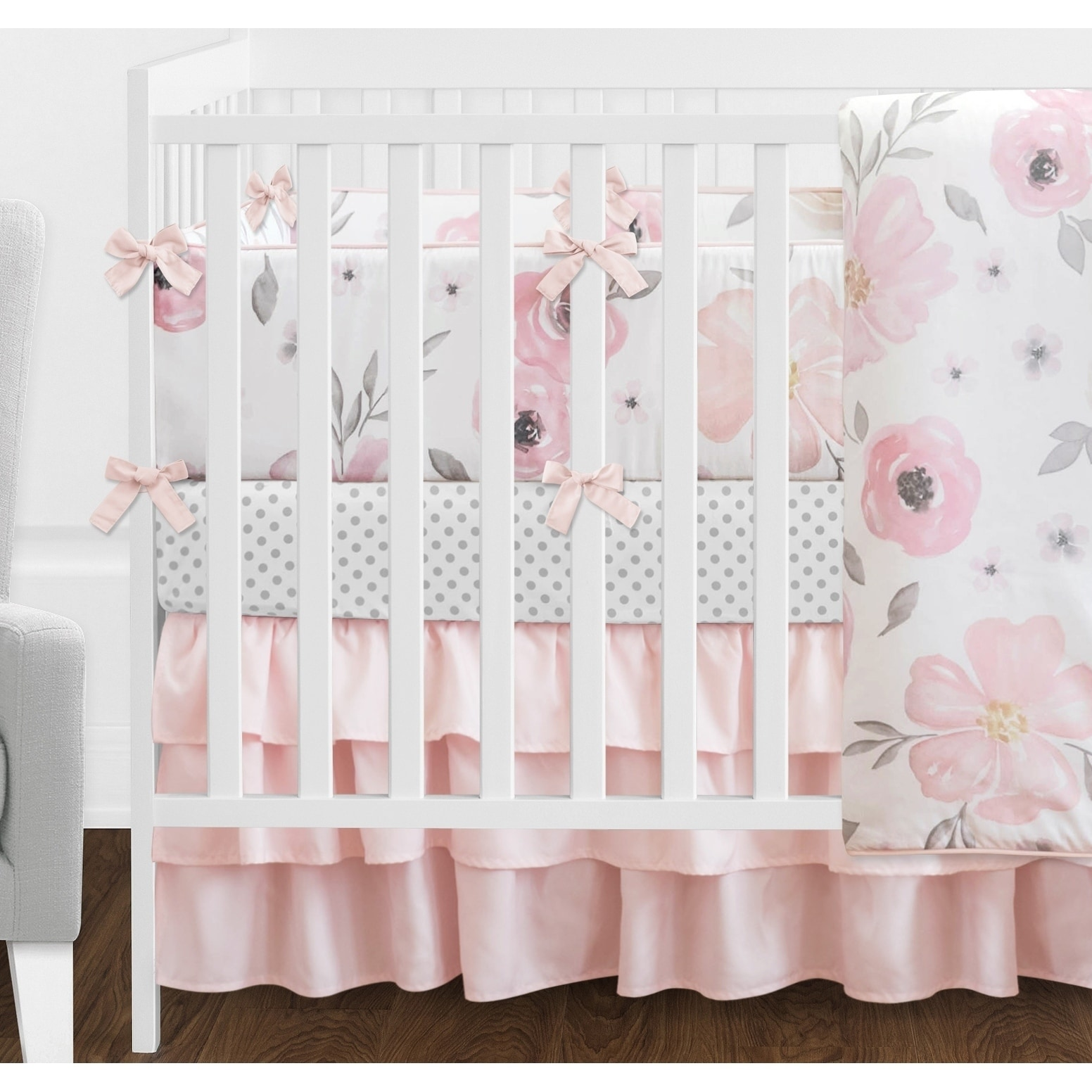 5628ed3ae Shop Sweet Jojo Designs Blush Pink, Grey and White Shabby Chic Watercolor  Floral Collection Baby Girl 9piece Crib Bedding Set - Free Shipping Today  ...