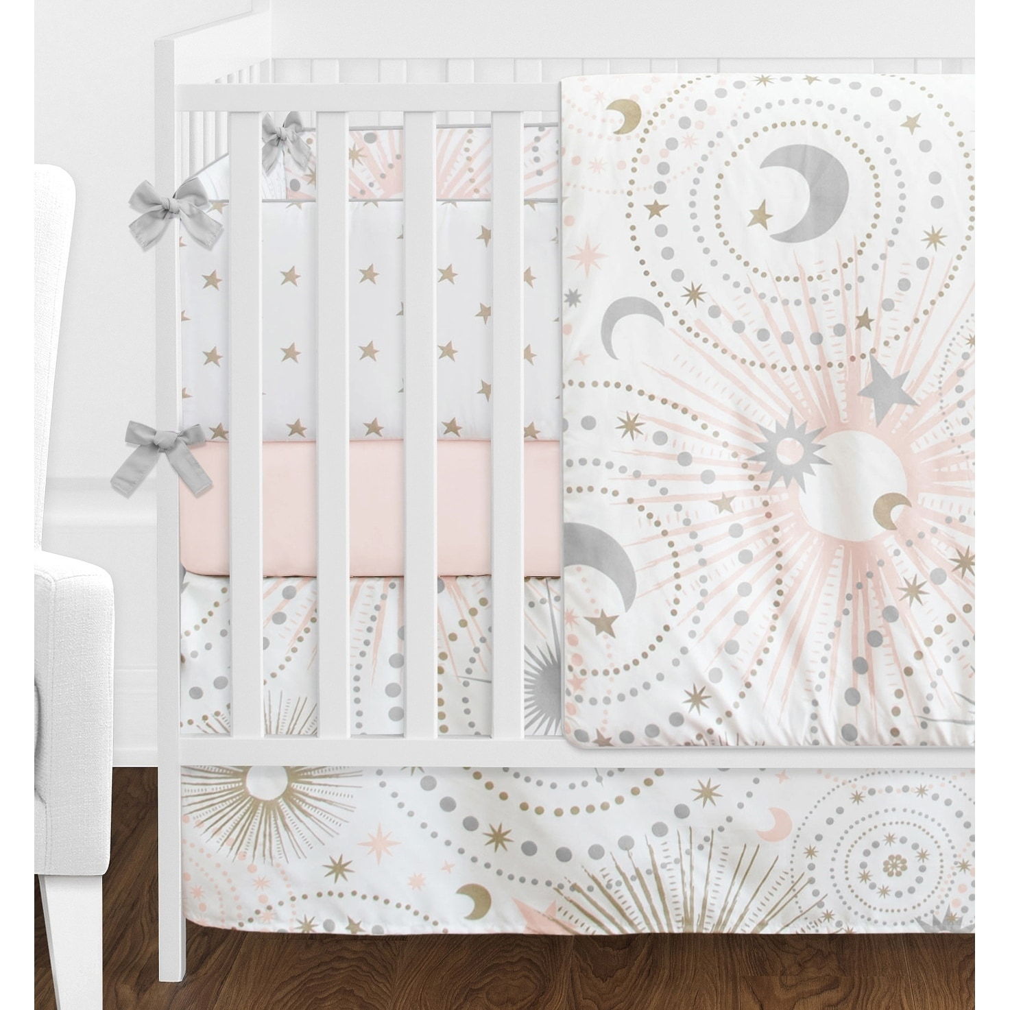 Sweet Jojo Designs Blush Pink Gold Grey And White Star Moon Celestial Collection Baby 9 Piece Crib Bedding Set Free Shipping Today