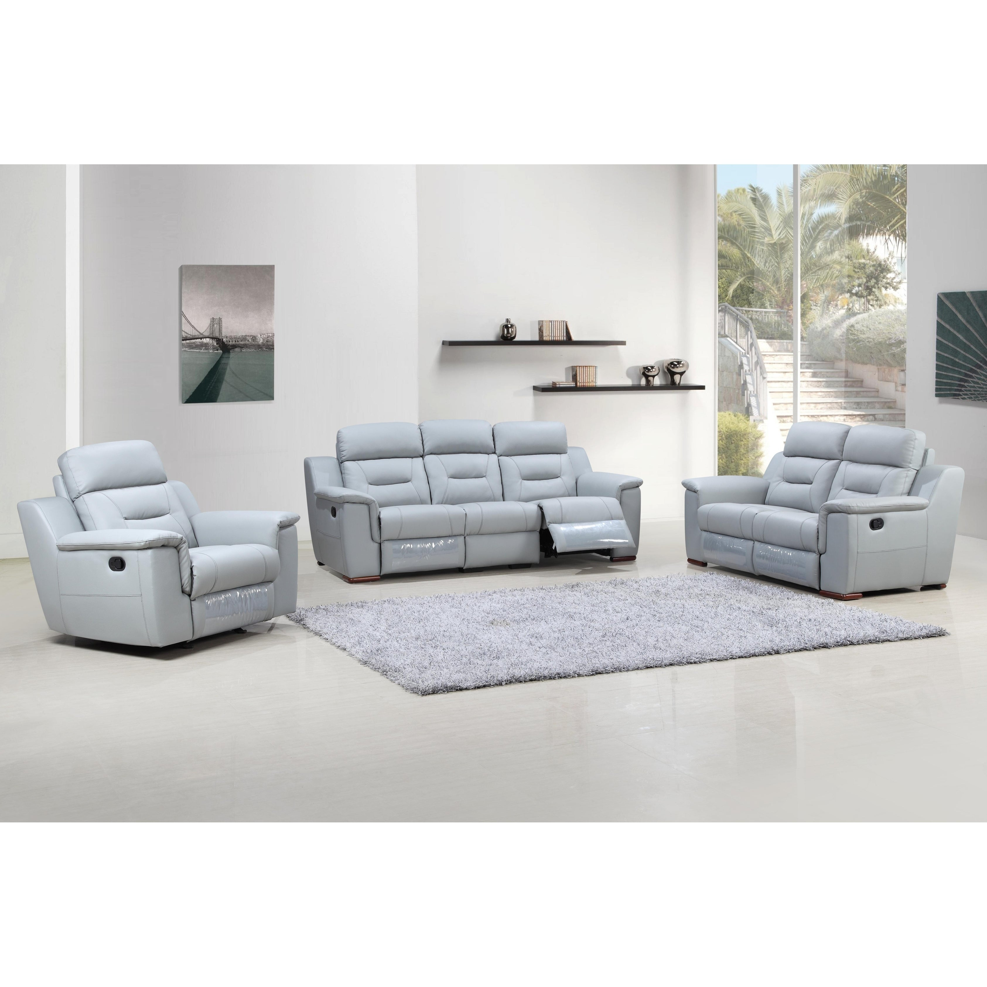 Walker Leather Air Upholstered 3 Piece Living Room Sofa Set - Free ...