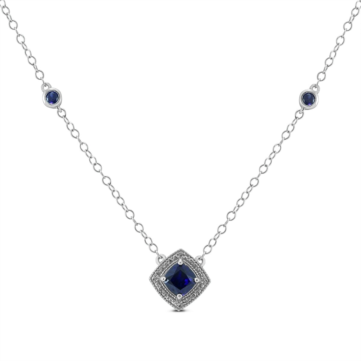 blue shaped halo gemstones necklace diamond pendant white pear condon dangle sapphire with