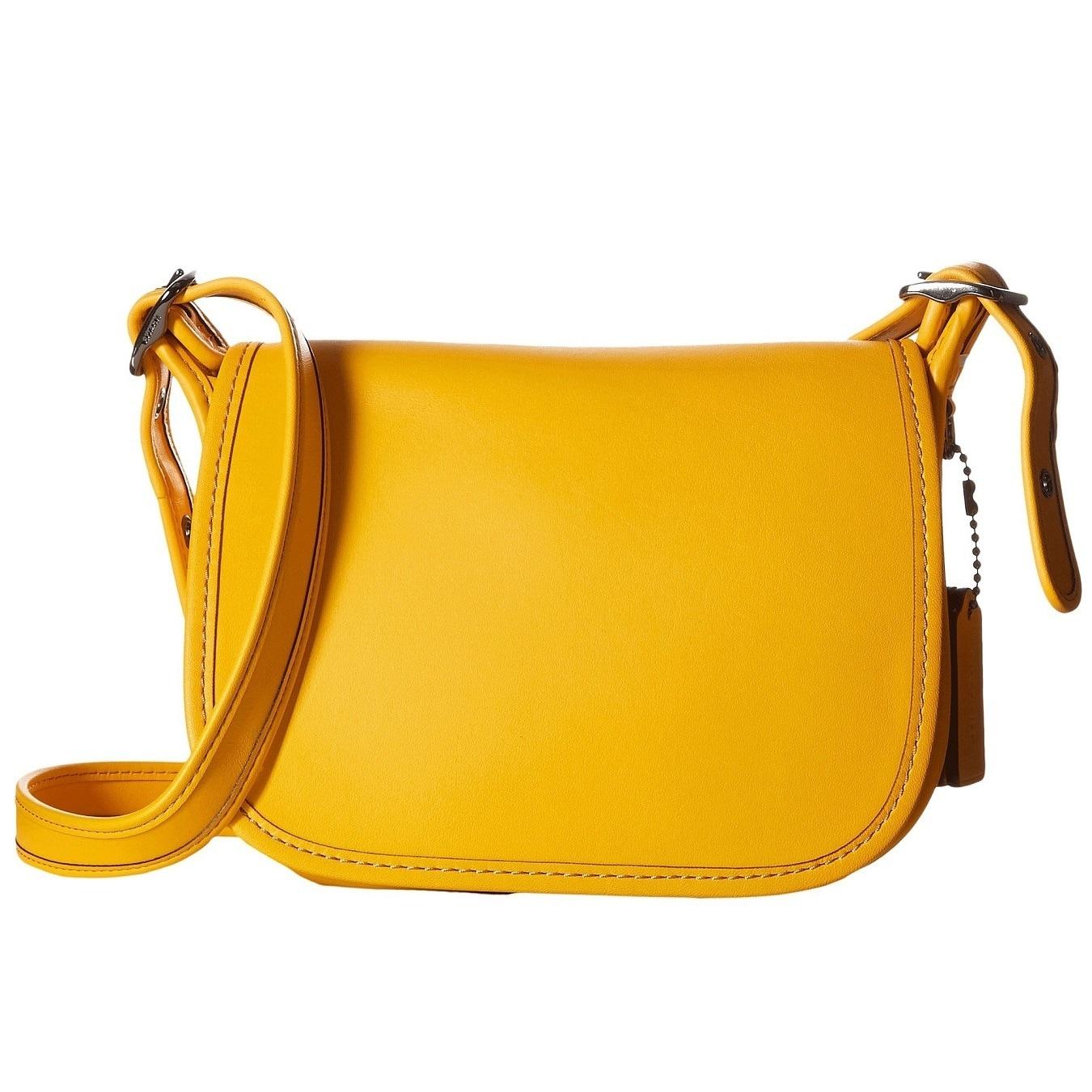 Coach Glovetanned Dark Yellow Leather Saddle Handbag Free Shipping Today 24961603