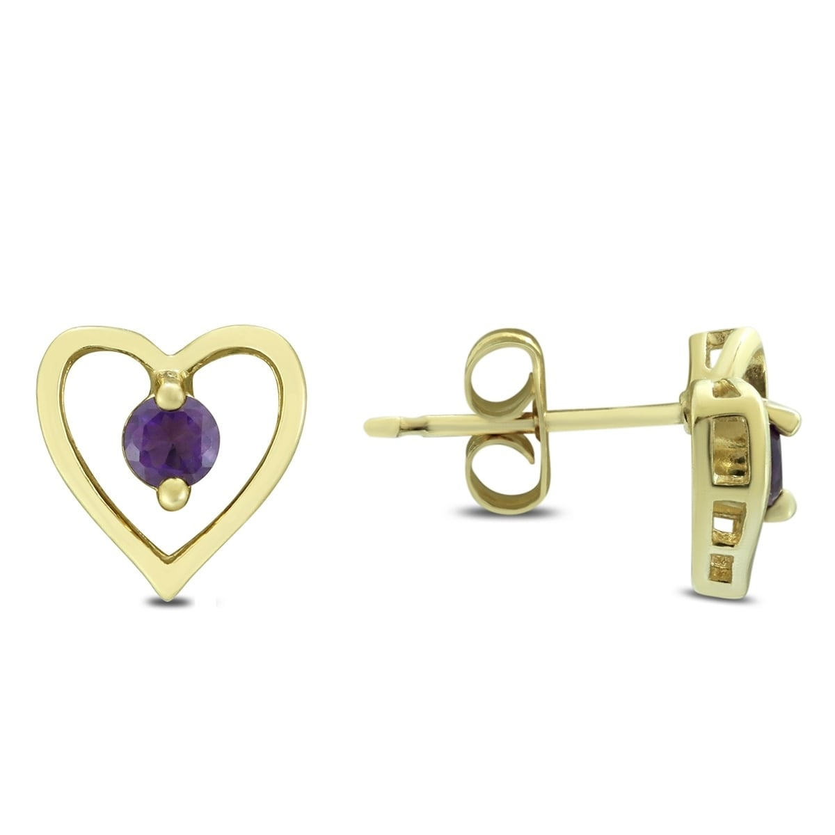 3mm Amethyst Heart Earrings In 925 Sterling Silver On Free Shipping Orders Over 45 18904904