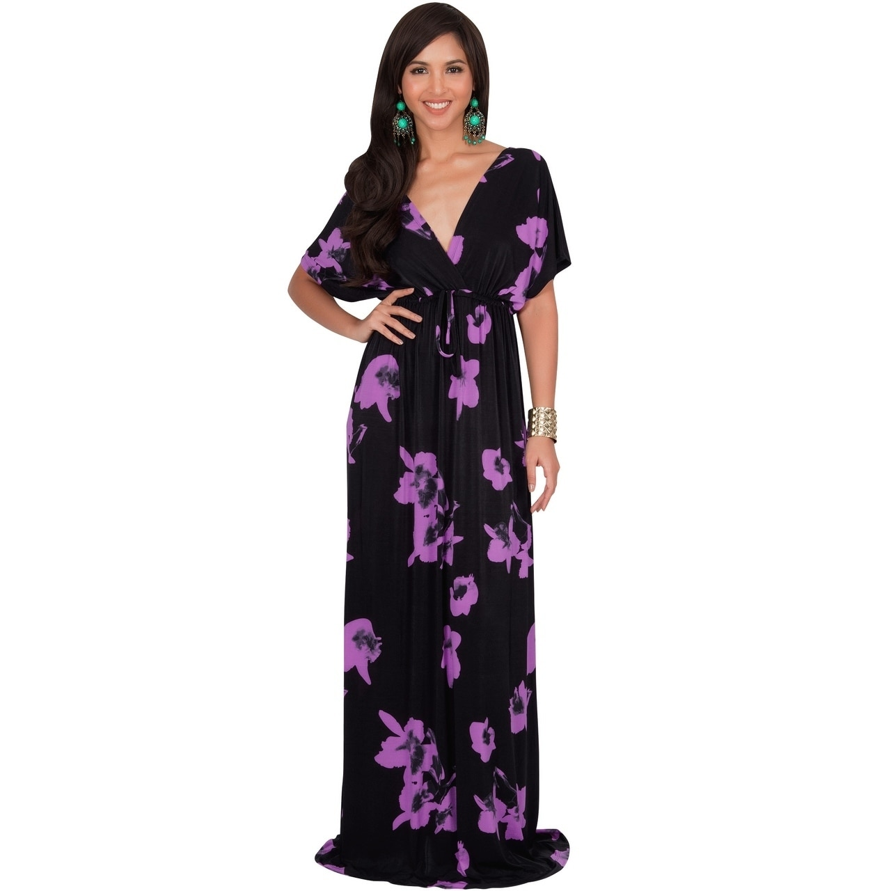 372cea142509 Shop KOH KOH Long Casual Summer Kimono Sleeve Floral Print Maxi Dress Gown  - Free Shipping Today - Overstock - 18915604
