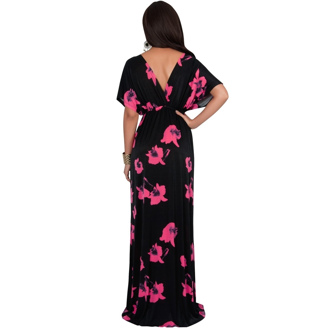 Shop KOH KOH Womens Short Sleeves Floral Printed Bat Wing Deep V-Neck Maxi  Dress - Ships To Canada - Overstock.ca - 18915604 15ca187b4