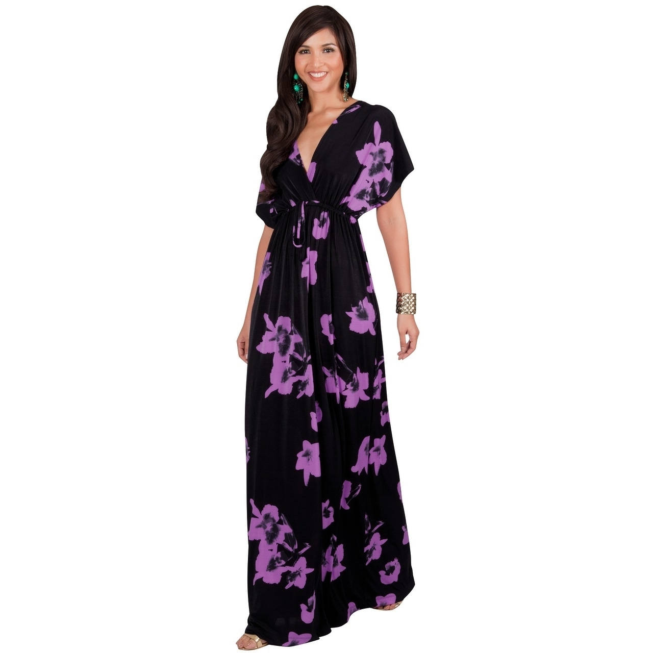 KOH KOH Womens Short Sleeves Floral Printed Bat Wing Deep V-Neck Maxi Dress 01fe4fe173