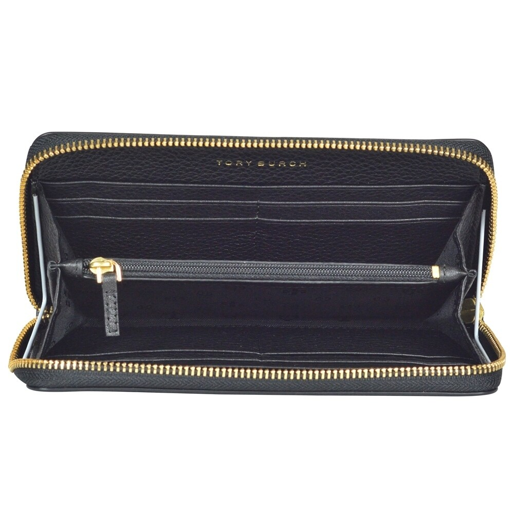 199de90bd885 Shop Tory Burch Harper Zip Continental Black Leather Wallet Clutch - Free  Shipping Today - Overstock - 18916102