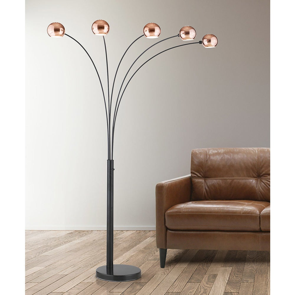 Astonishing Orbs Copper Finish 5 Light Dimmable Arch Floor Lamp Download Free Architecture Designs Jebrpmadebymaigaardcom