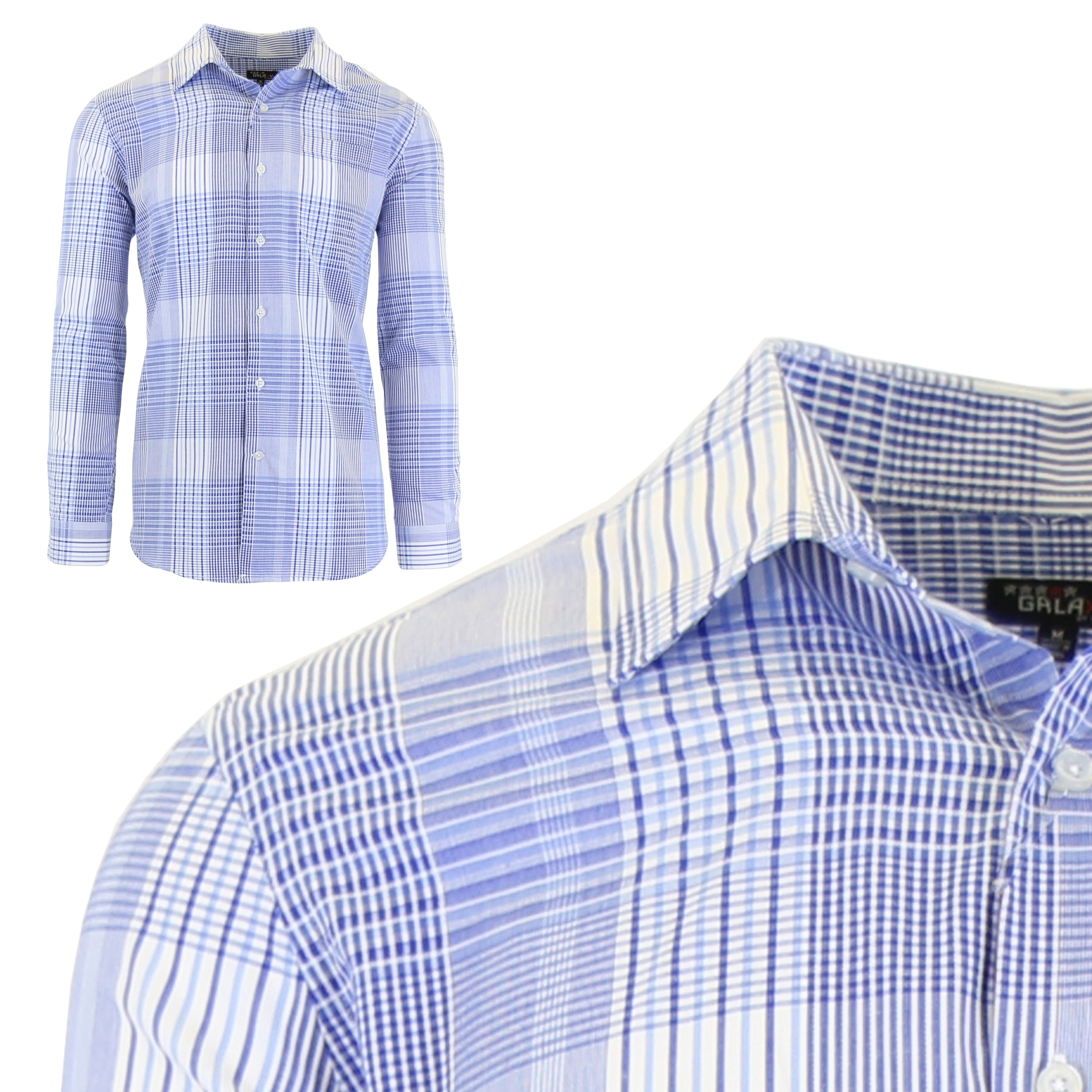 1b152c3ef5 Shop Galaxy By Harvic Men's Long Sleeve Checkered Button Down Dress Shirts  - On Sale - Free Shipping On Orders Over $45 - Overstock - 18917962