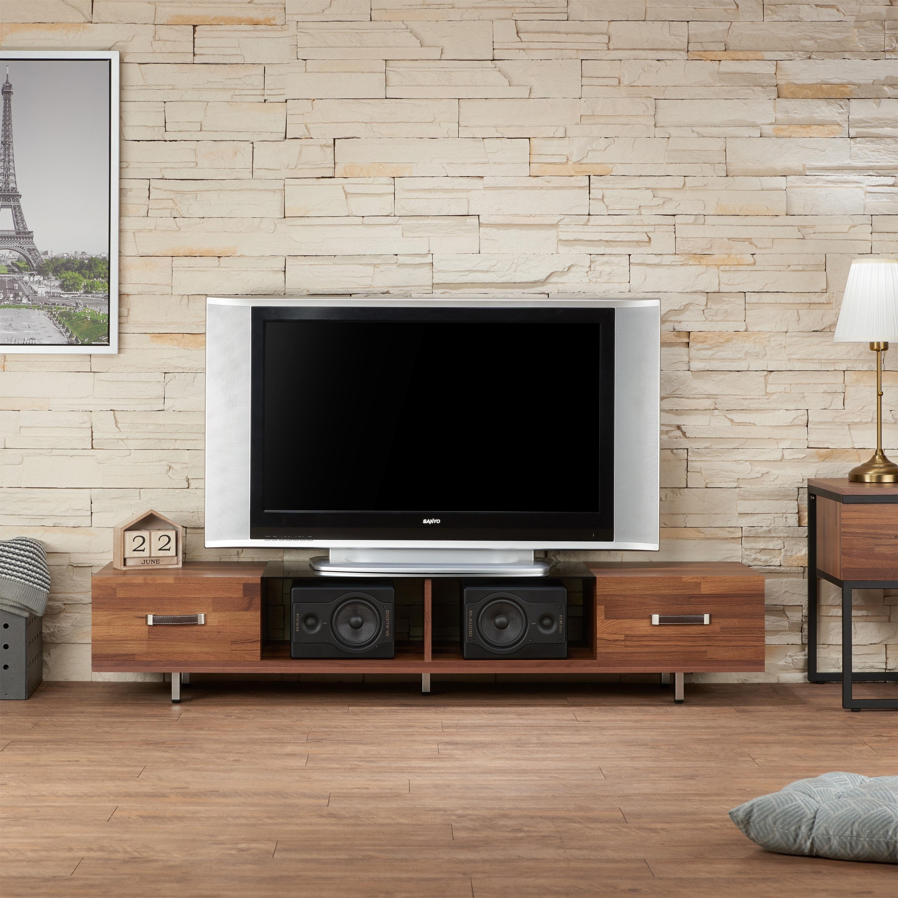 Shop Acme Sam Walnut Smoke Wood Glass Tv Stand Free Shipping Today