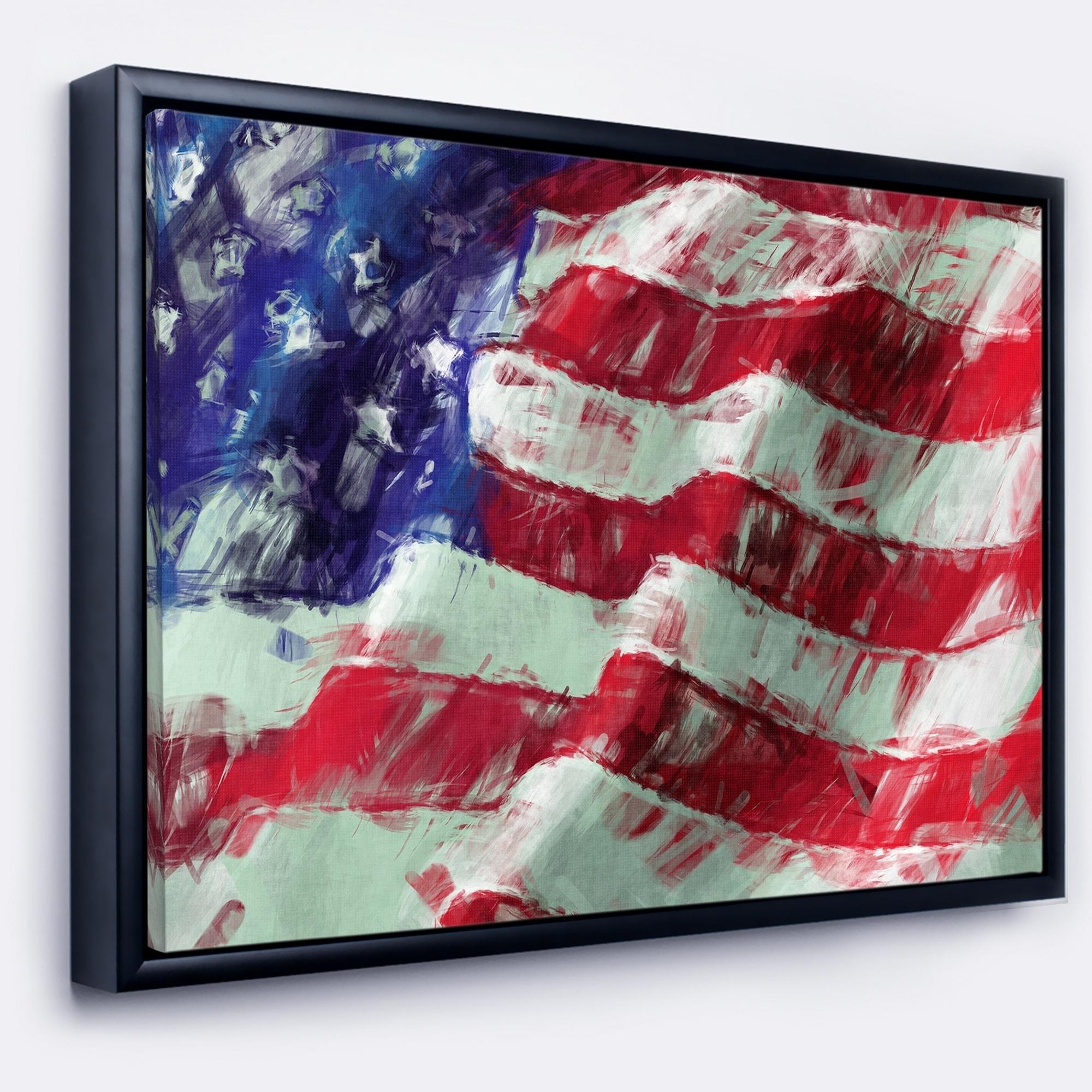 Designart \'USA Flag Abstract Art\' Map & Flag Framed Canvas Art Print ...