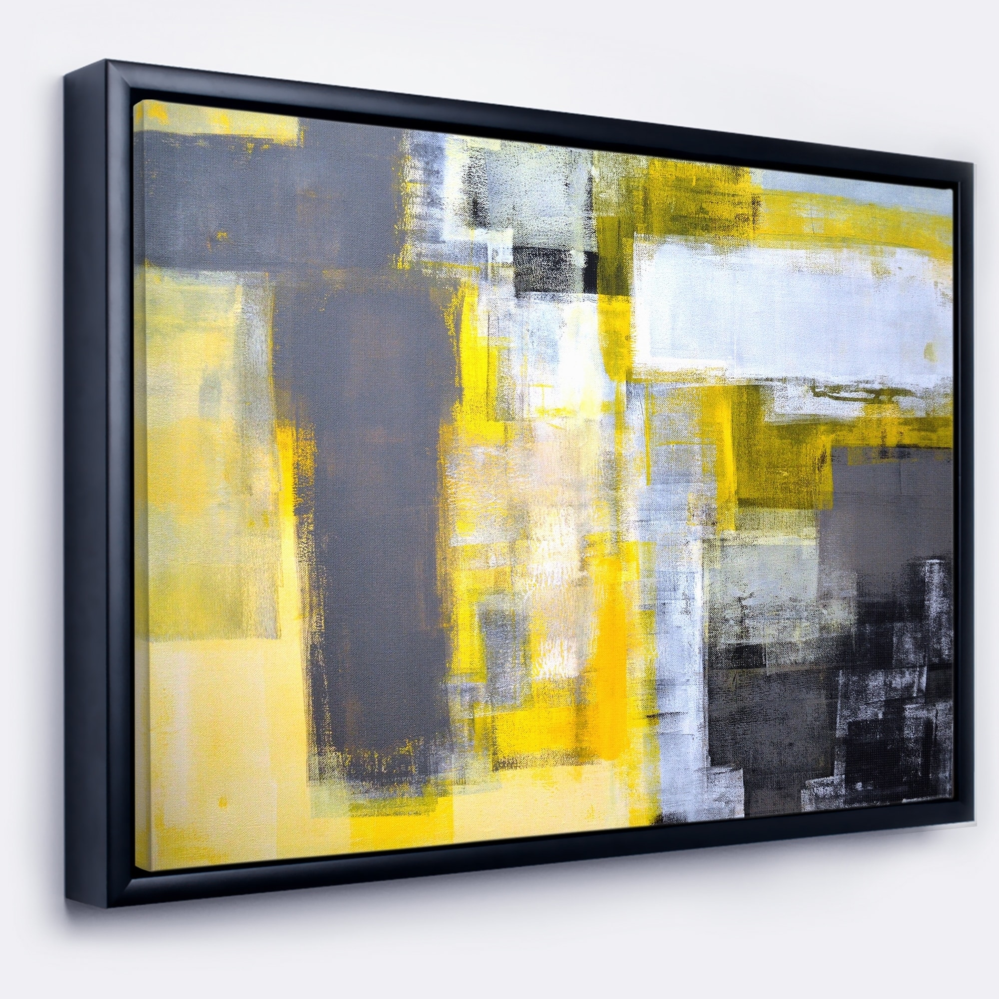 Shop Designart \'Grey and Yellow Blur Abstract\' Abstract Framed ...