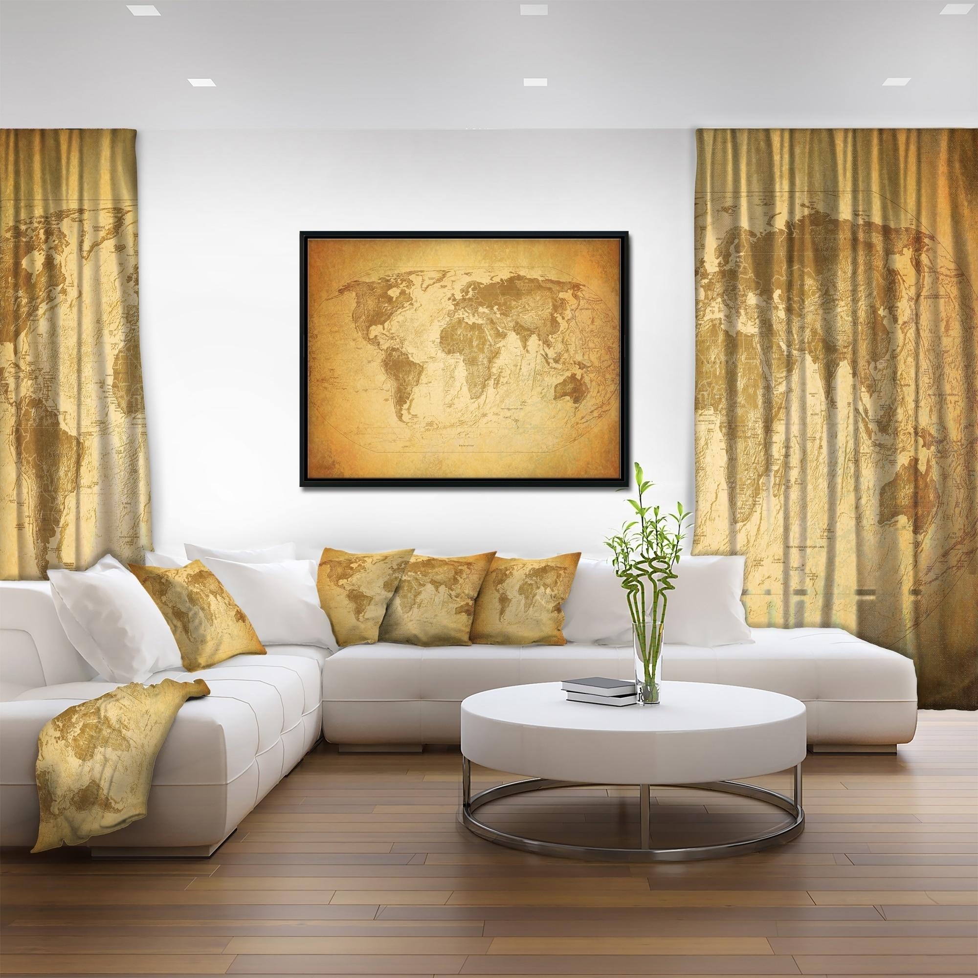 Designart \'Vintage Classic Map\' Contemporary Framed Canvas Art Print ...