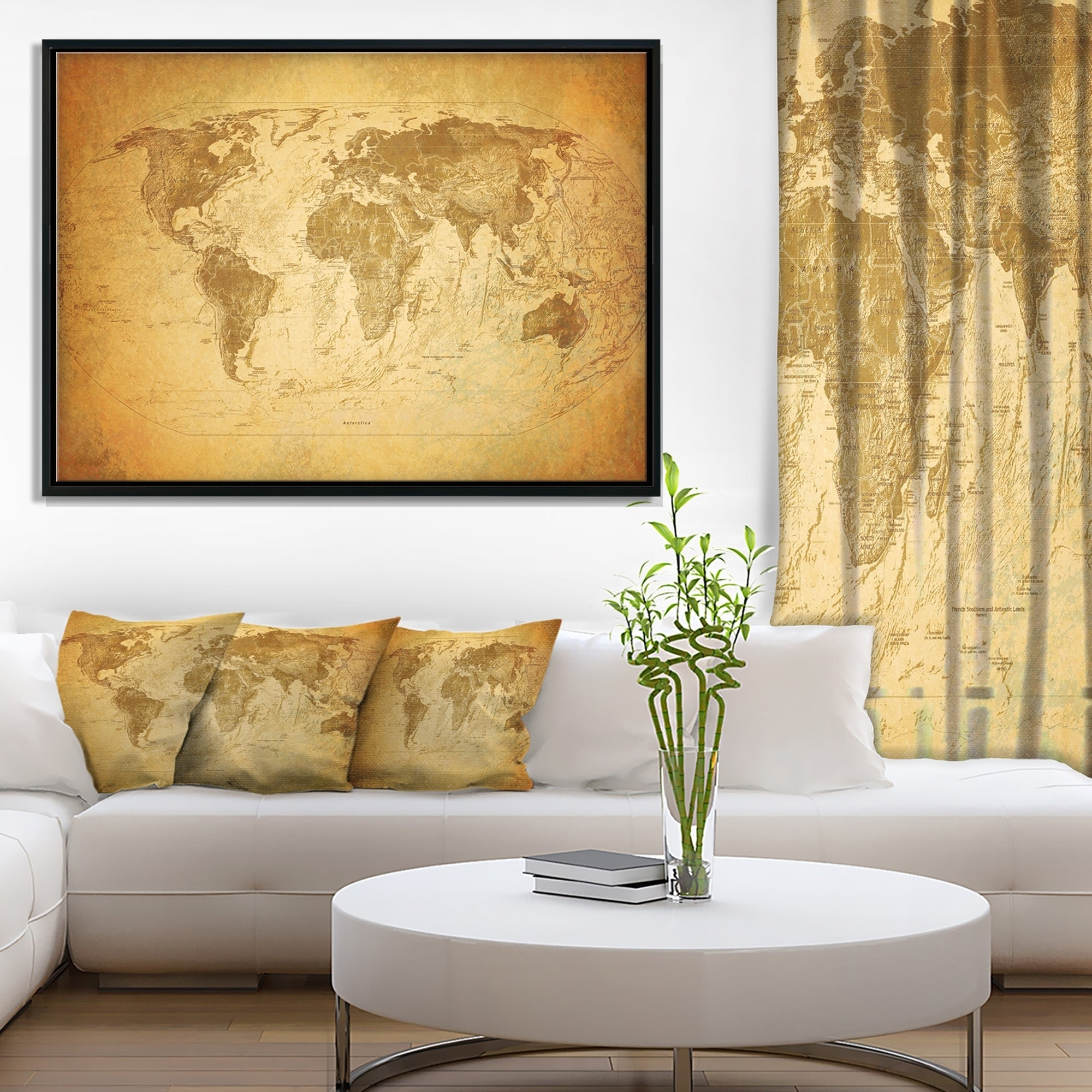 Shop Designart \'Vintage Classic Map\' Contemporary Framed Canvas Art ...