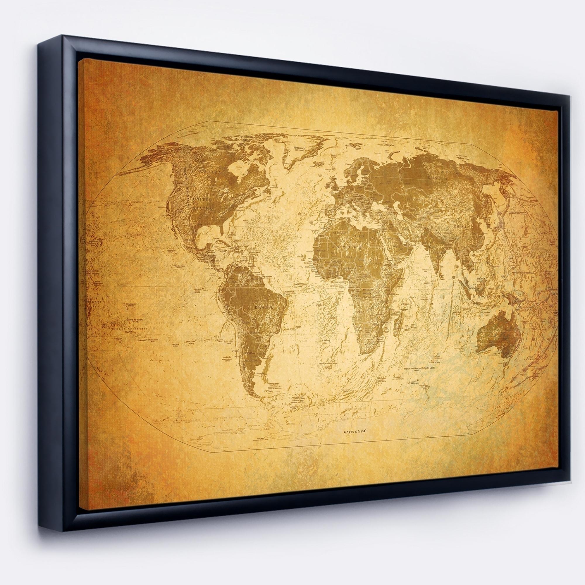 Shop Designart \'Vintage Classic Map\' Contemporary Framed Canvas Art ...