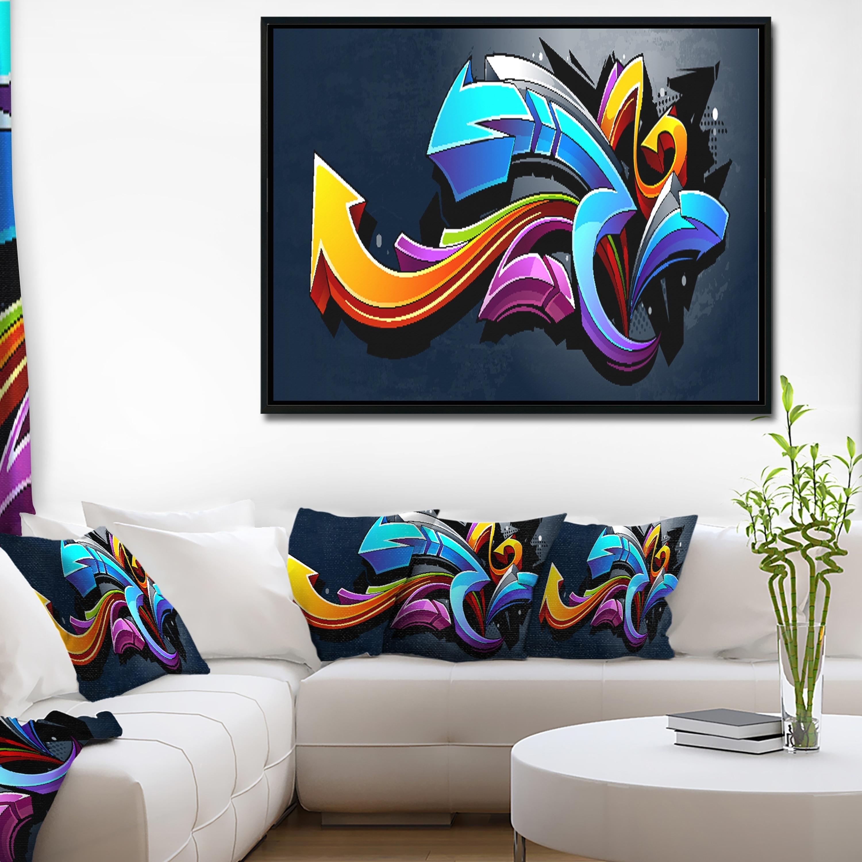 Shop Designart Direction Street Art Graffiti Framed Canvas Art Print