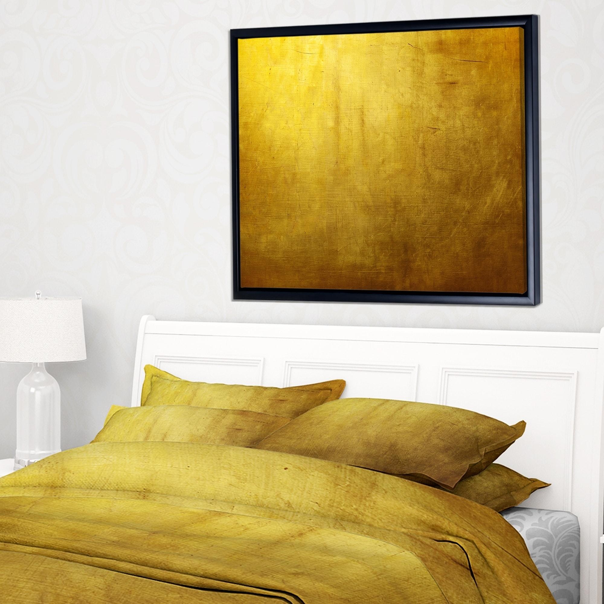 Shop Designart \'Gold Texture\' Abstract Framed Canvas art print - On ...