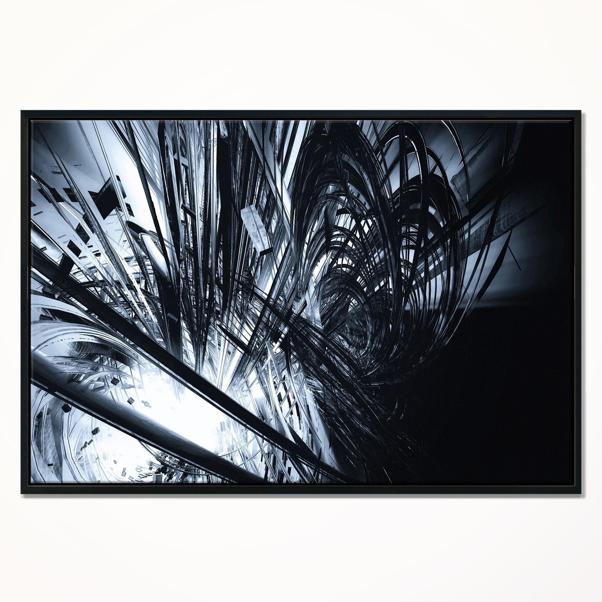 8a0cd644b2 Designart  3D Abstract Art Black White  Abstract Framed Canvas art print