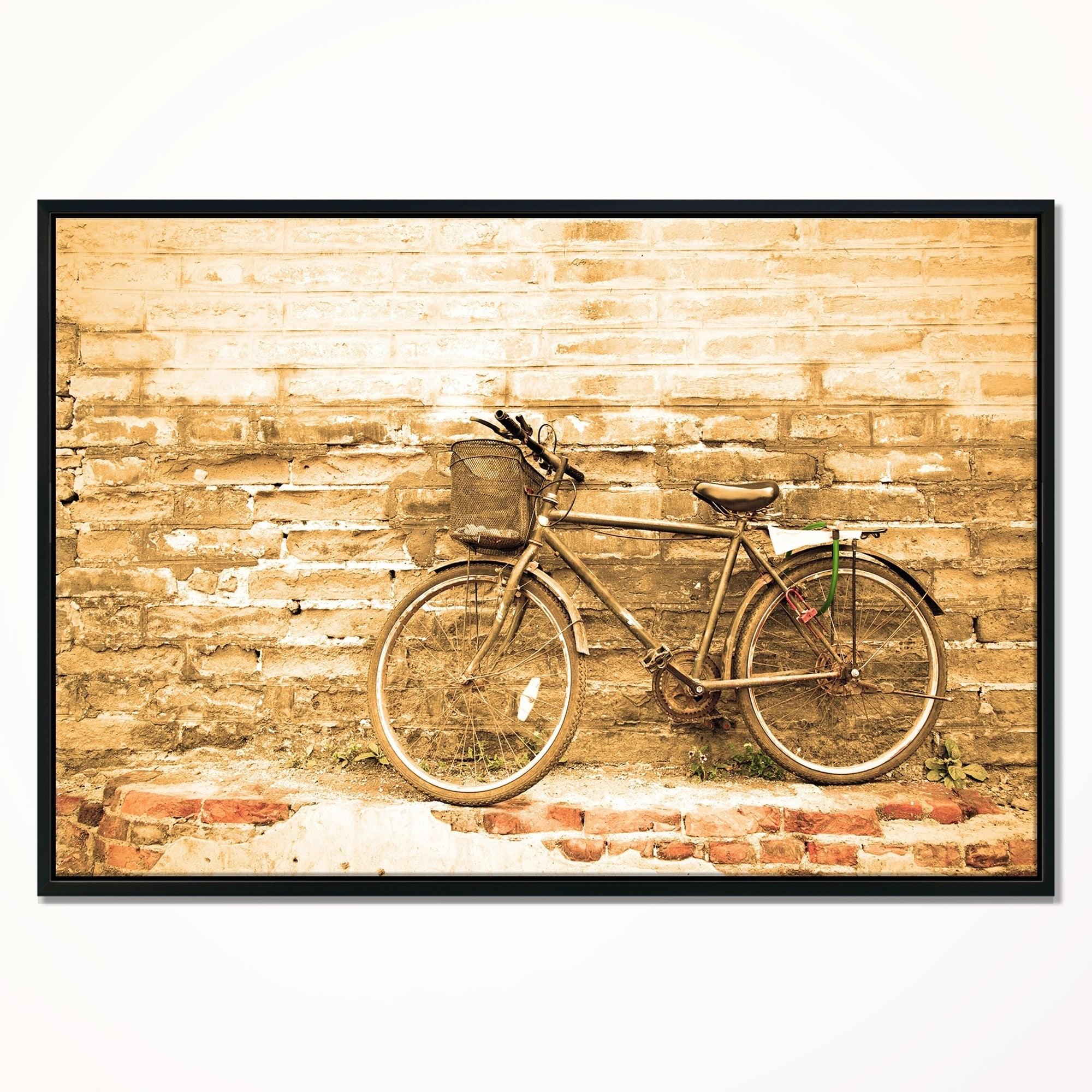 Shop Designart \'Vintage Bicycle against Brown Wall\' Landscape Art ...
