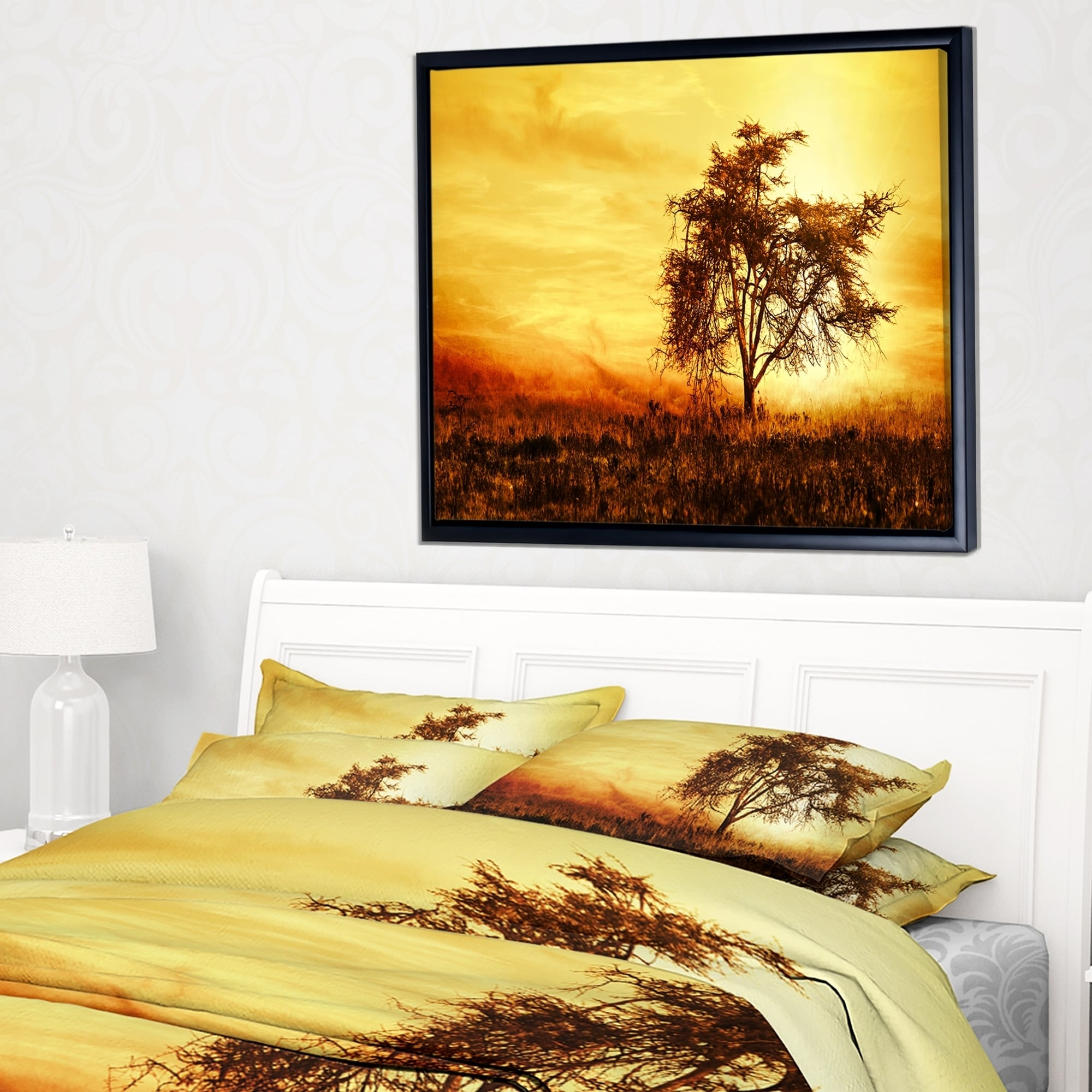 Designart \'African Tree Silhouette\' Landscape Photo Framed Canvas ...