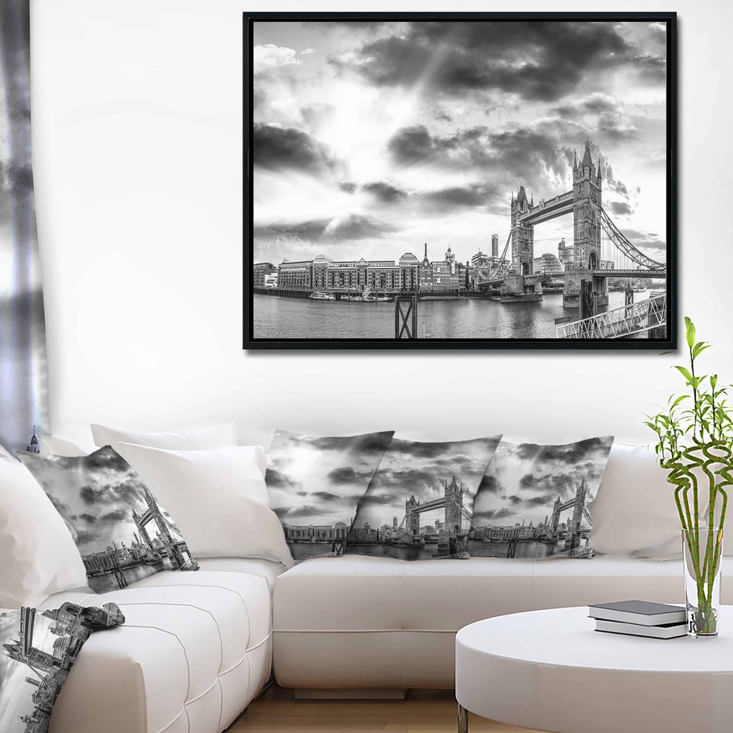 Designart black and white view of london panorama cityscape framed canvas print by design art